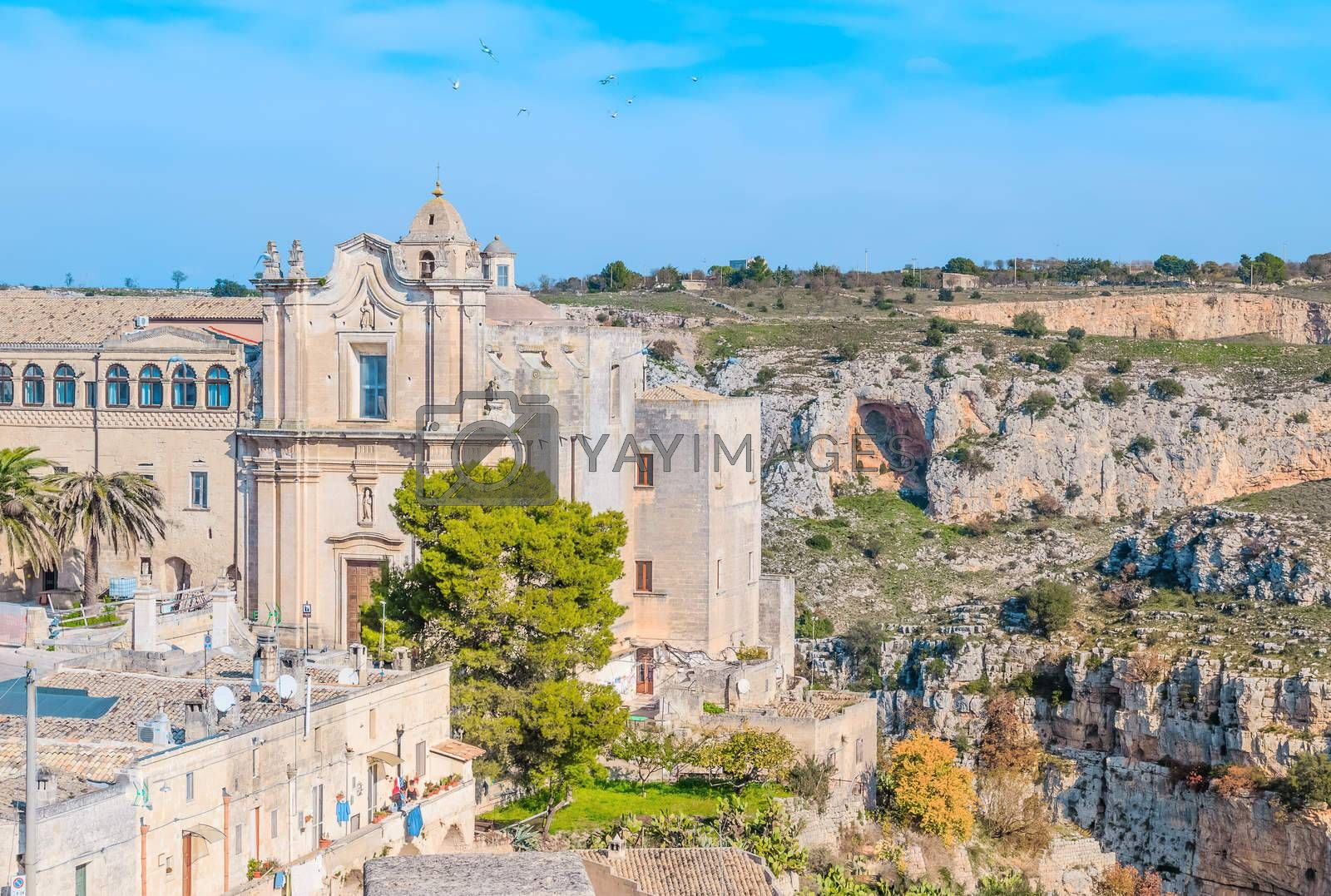 Church of St. Agostino. Matera in Italy UNESCO European Capital of Culture 2019 under blue sky