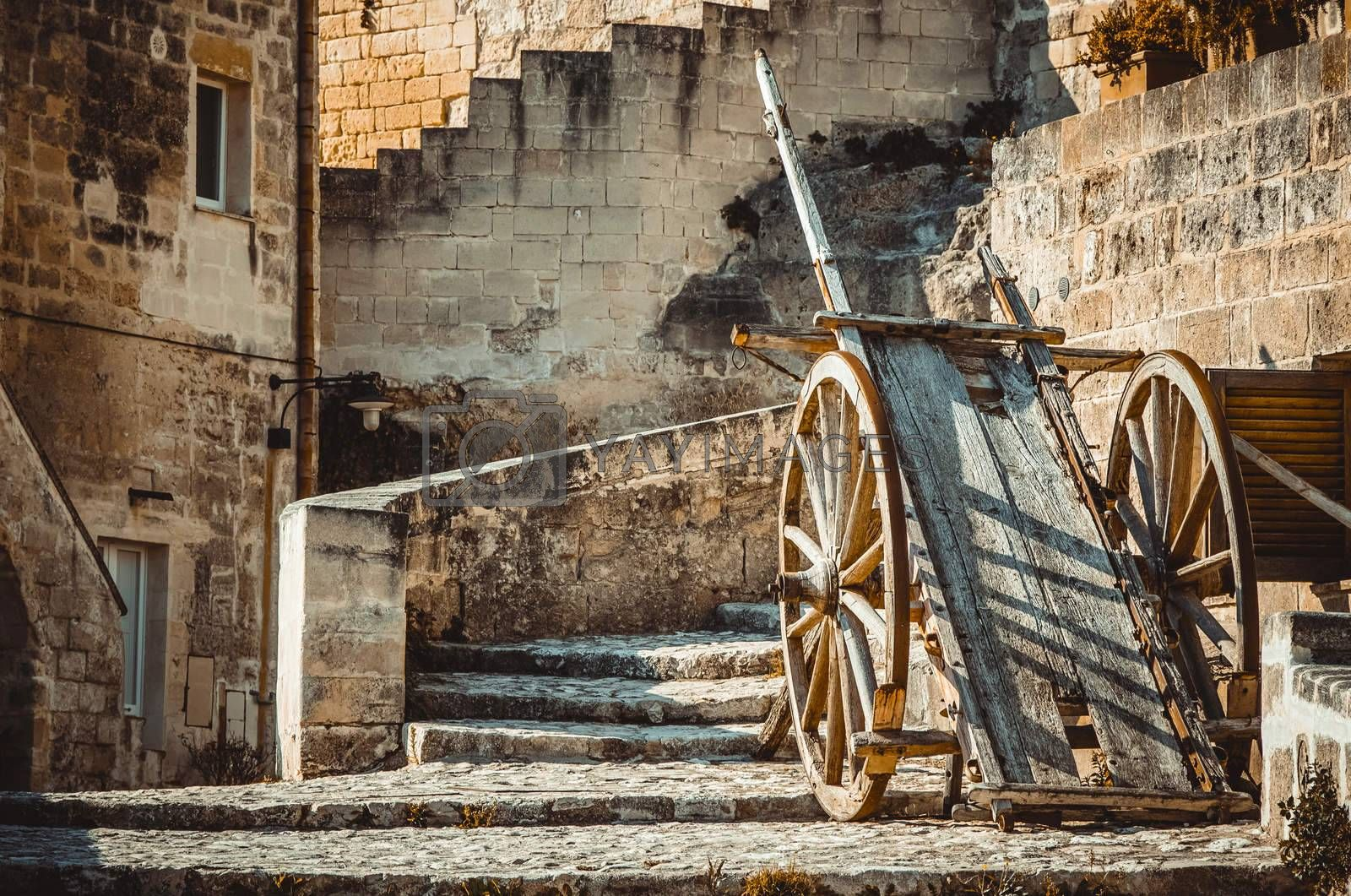 old historical wood wagon typical tool used in the past, in Matera, Italy UNESCO European Capital of Culture 2019