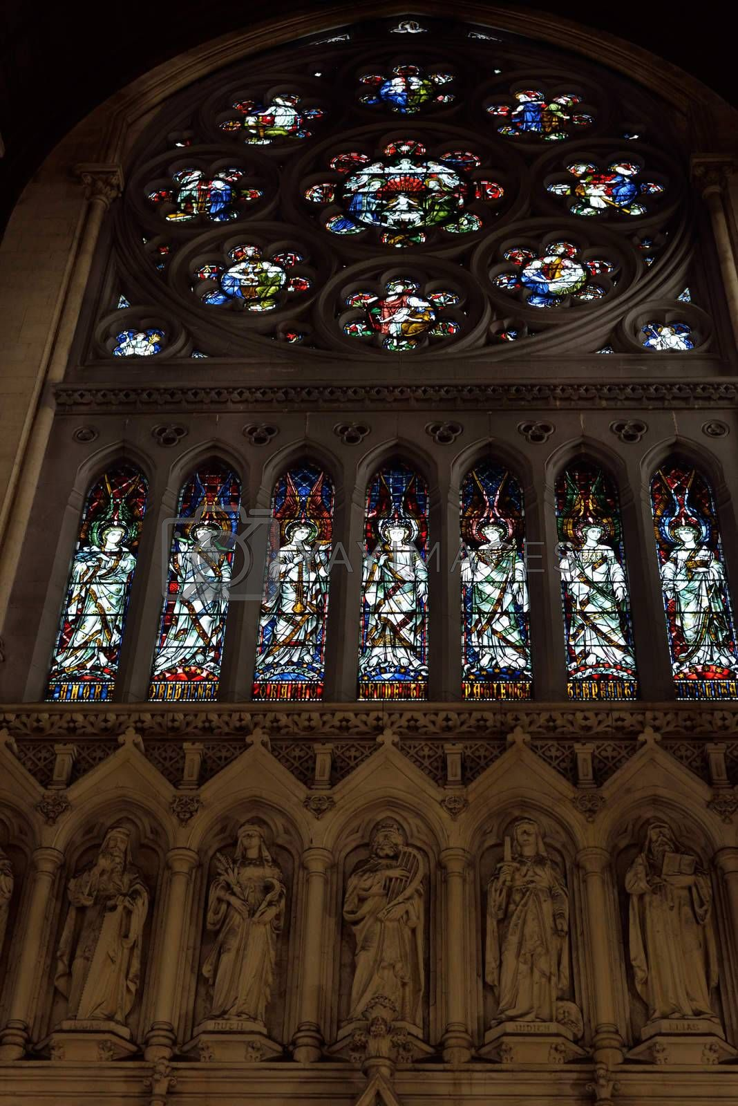 interior stained glass windows of  St Colman's Cathedral by morrbyte