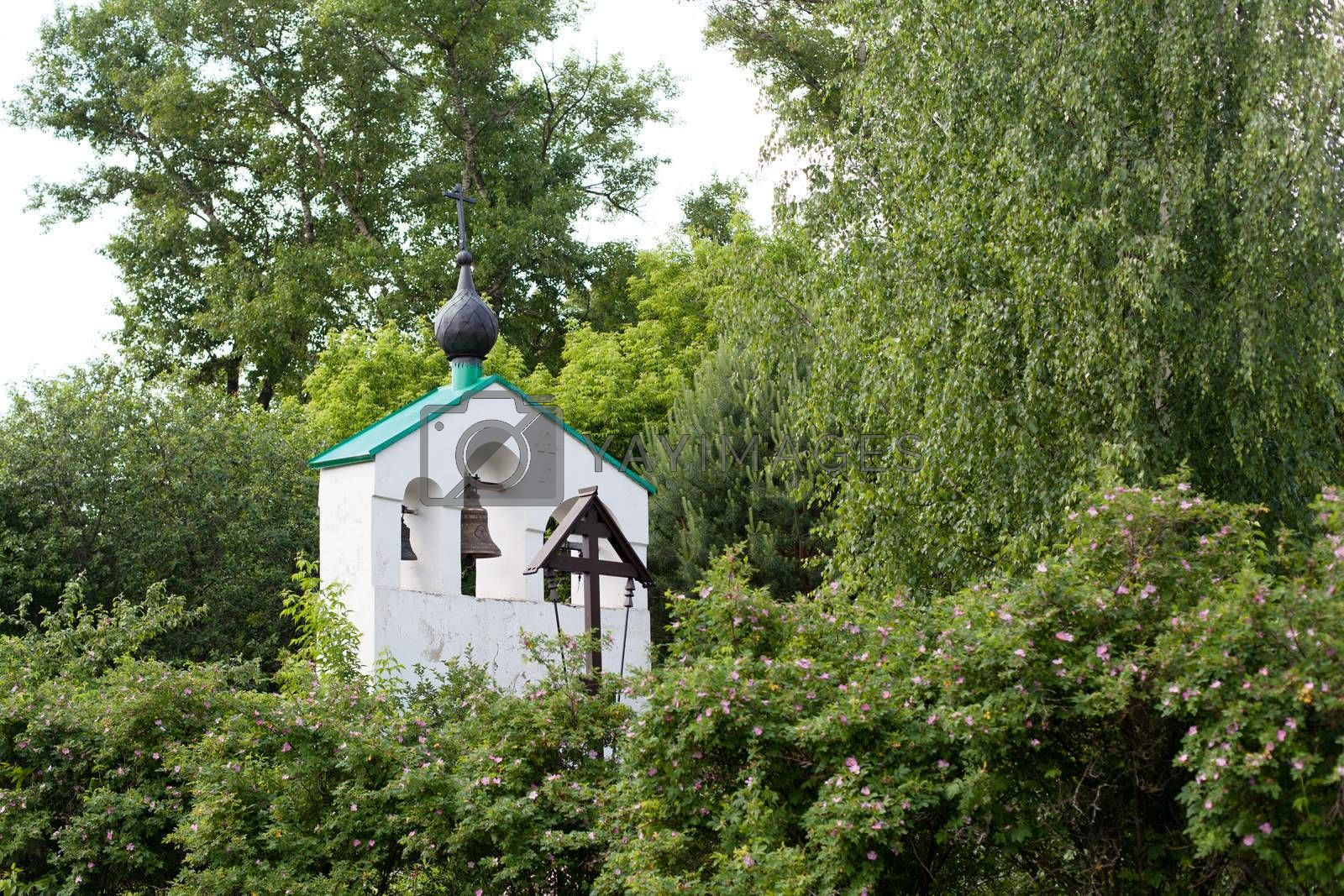 Small white orthodox bell tower