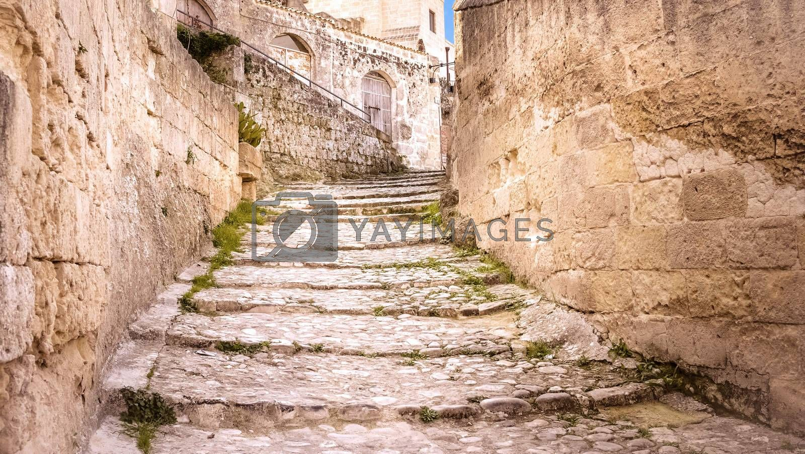 old stairs of stones, the historic building in Matera in Italy UNESCO European Capital of Culture 2019, details of old stairs