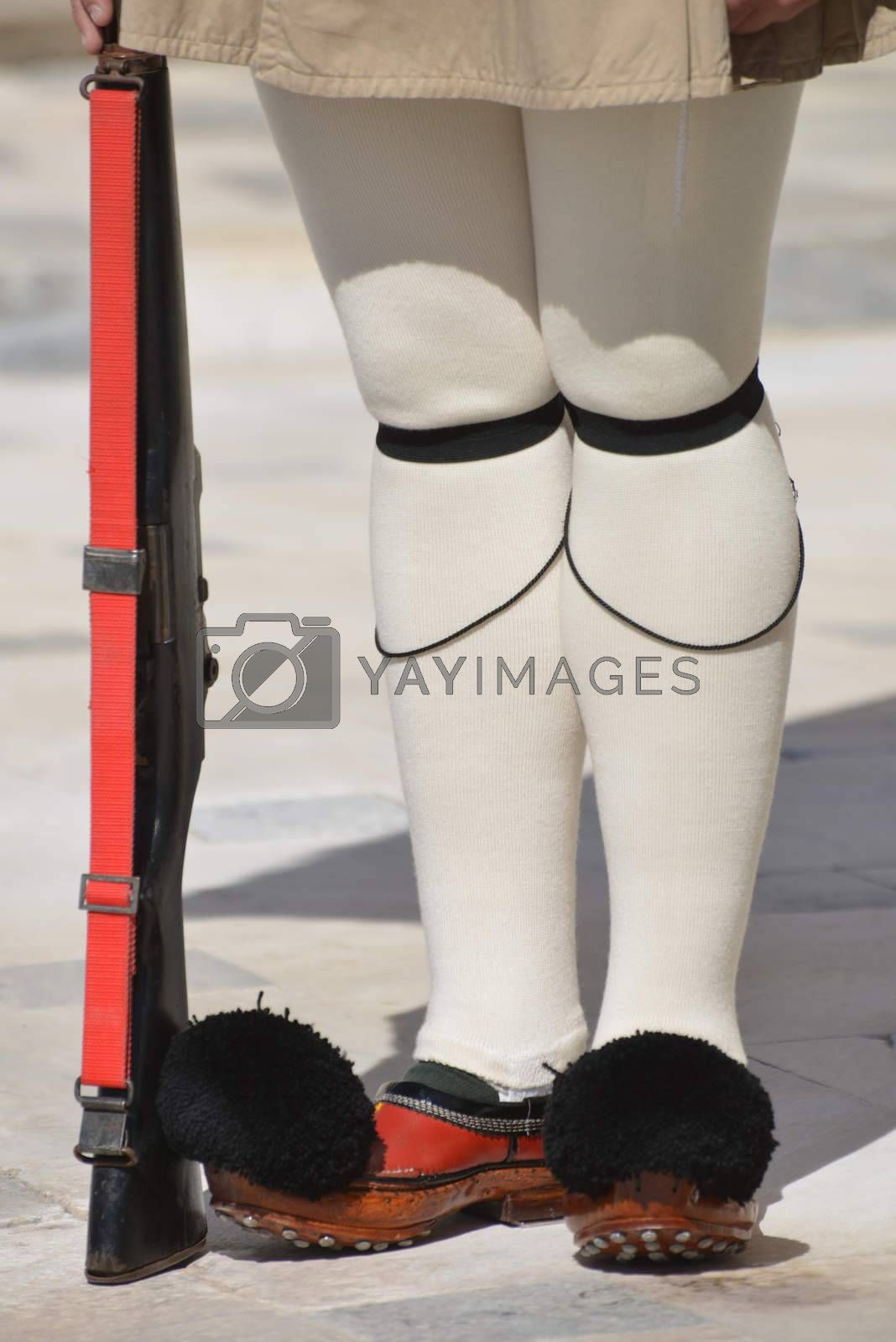 The legs of Evzoni Guard of the Greek Parliament, Athens, Greece