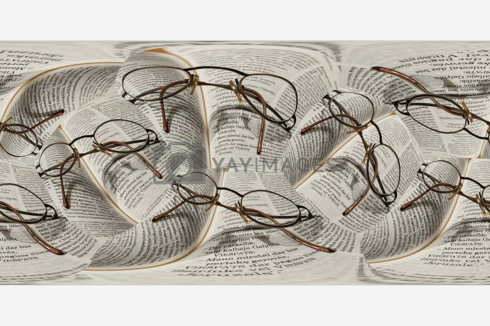 Round glasses lie on the bible in the Swedish language