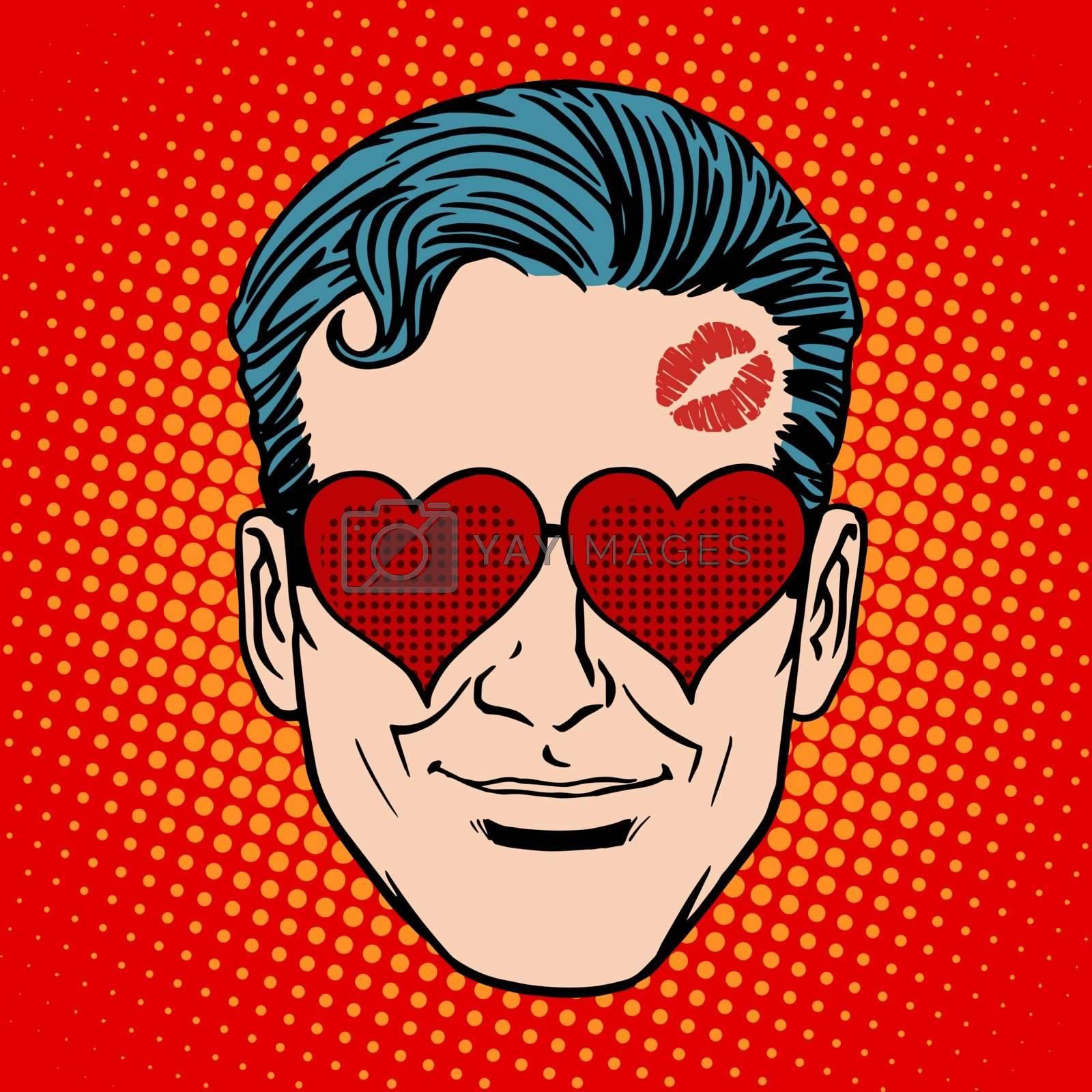 Retro Emoji lover man face pop art style. Heart love romantic relationship kiss