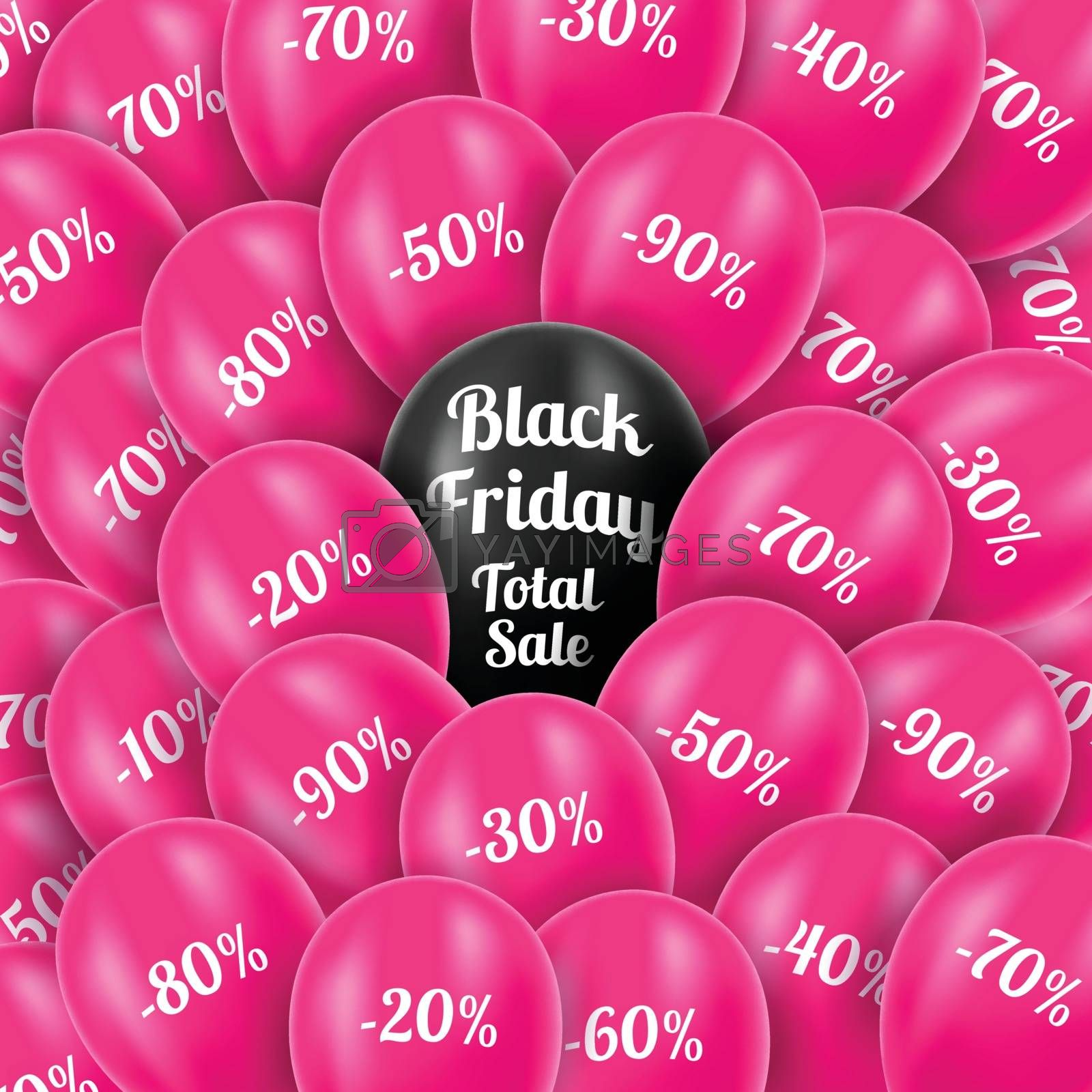 Vector. Black Friday. Realistic pink helium balloons with discounts. Background Black Friday. Total sales. Celebratory background with pink balloons.