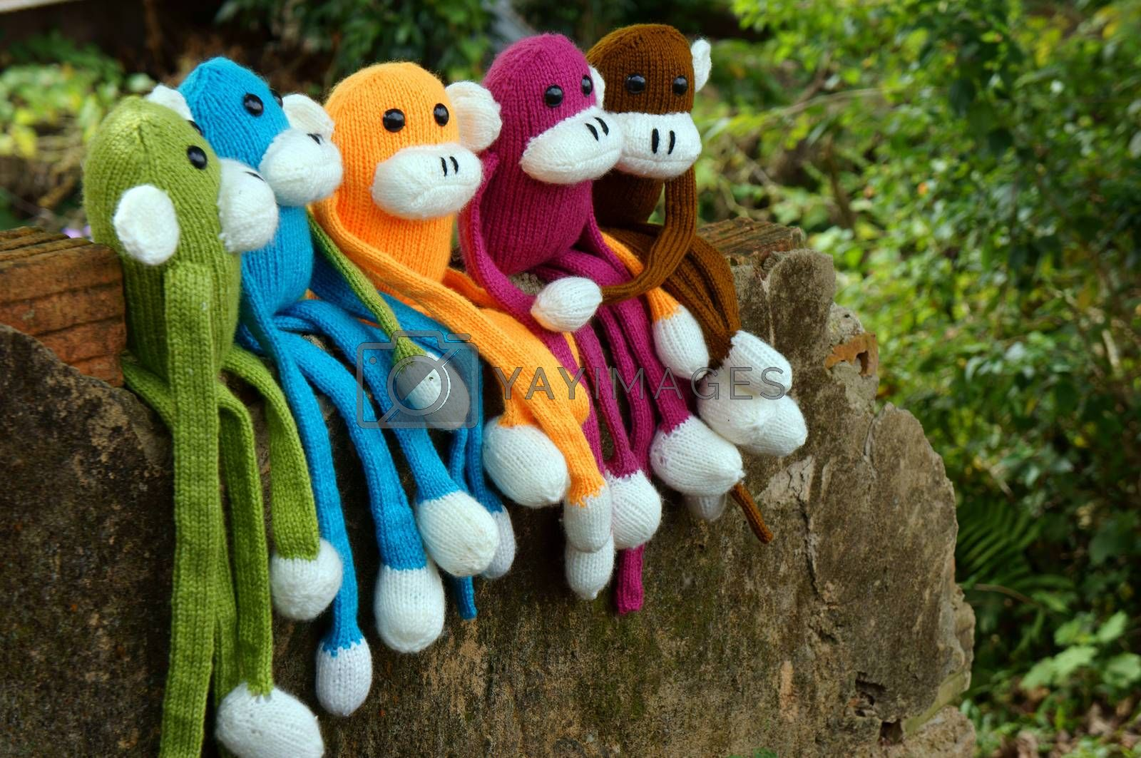 Amazing scene with group of knitted monkey climb tree, 2016 is year of the monkeys, monkey symbol in colorful yarn to happy new year