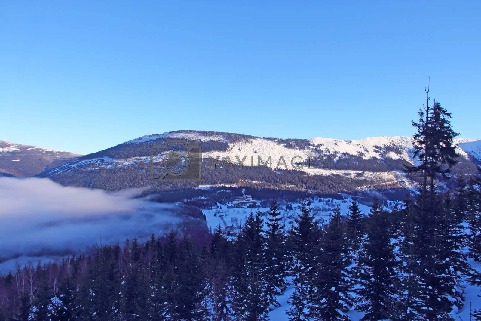 Winter mountain landscape in resort Spindleruv Mlyn, Krkonose, Czech Republic