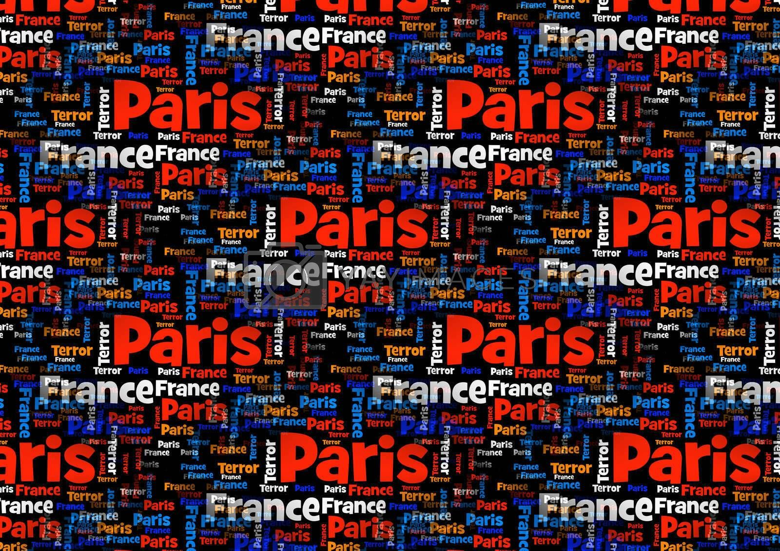 Wordcloud with the words Paris France Terror on black background.