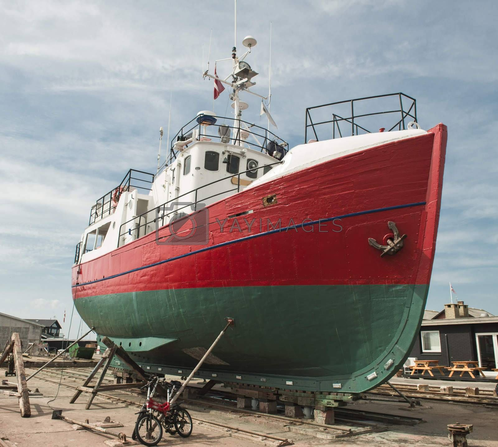 Repair of old wooden fishing ship.