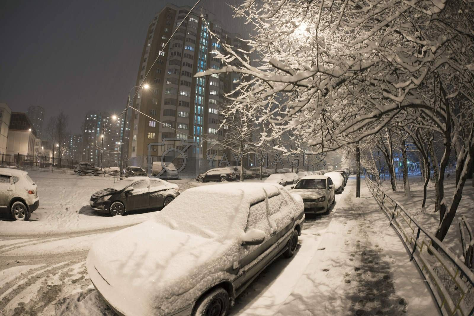 Moscow street in winter night.