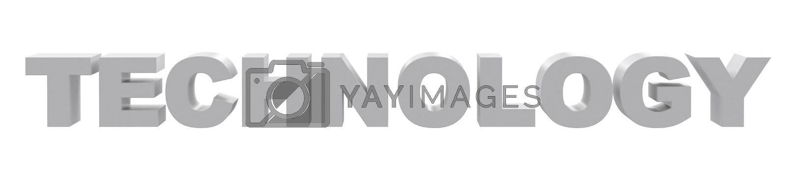 Word technology on isolated white background, front view