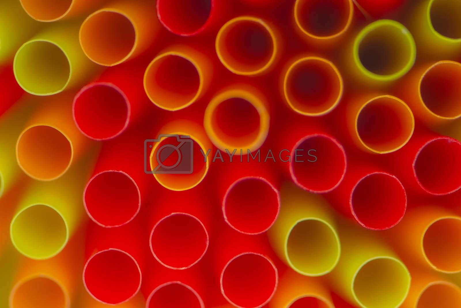 Collection colored drinking straws  by Tofotografie