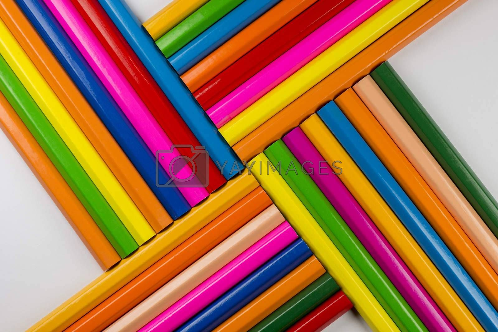 Abstract composition of a set wooden colour pencils  by Tofotografie