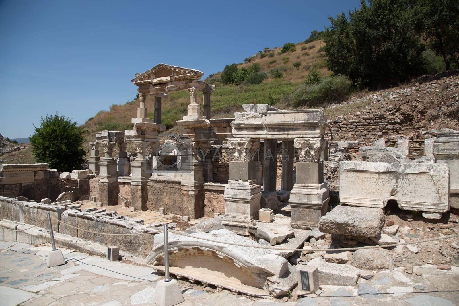 Fountain of Trajan in Ephesus Ancient City by EvrenKalinbacak