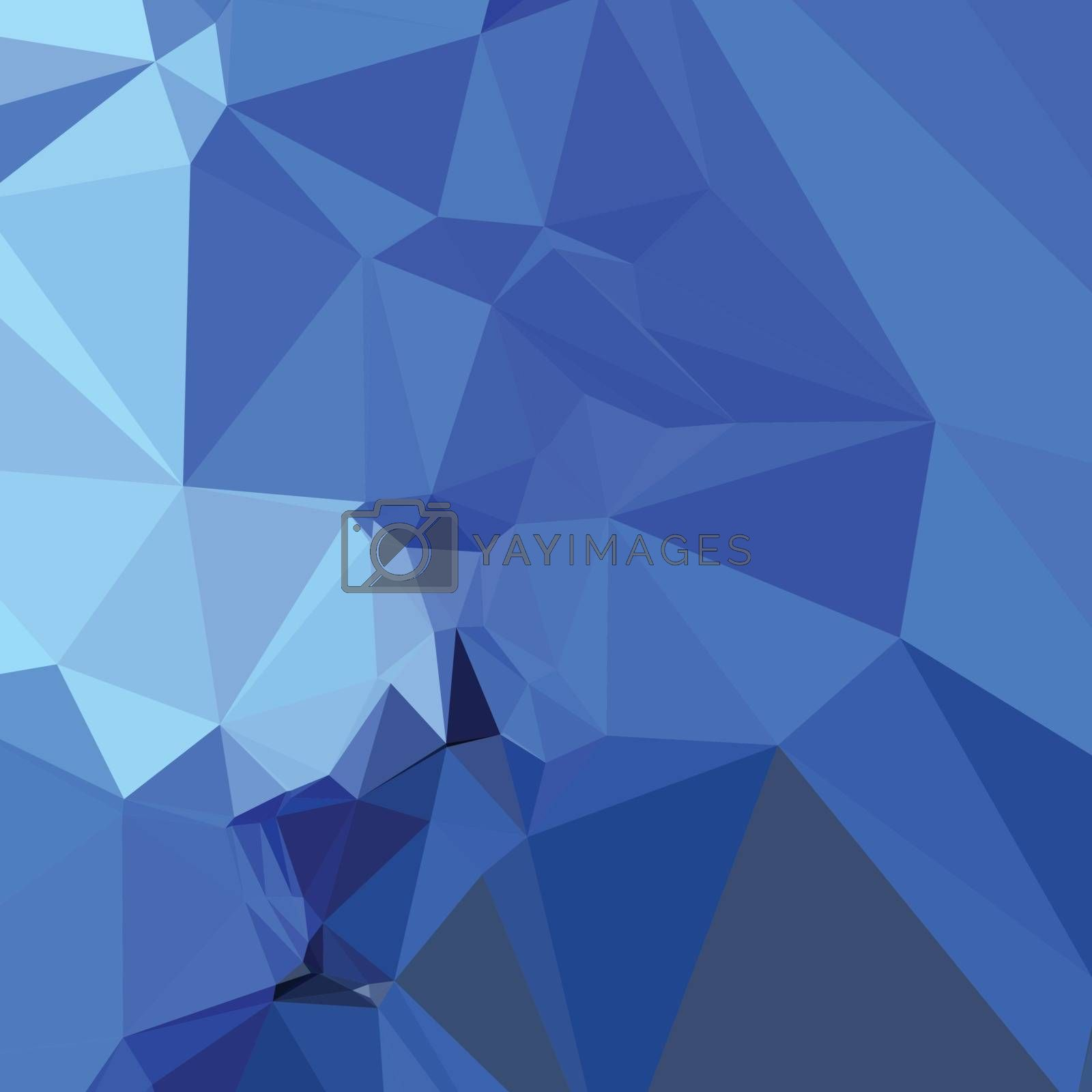 Low polygon style illustration of a brandeis blue abstract geometric background.
