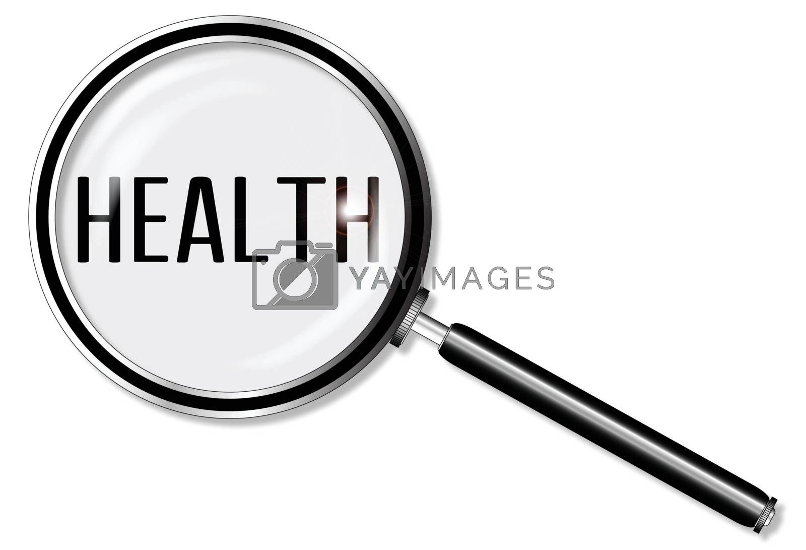 A magniying glass exanining health over a white background