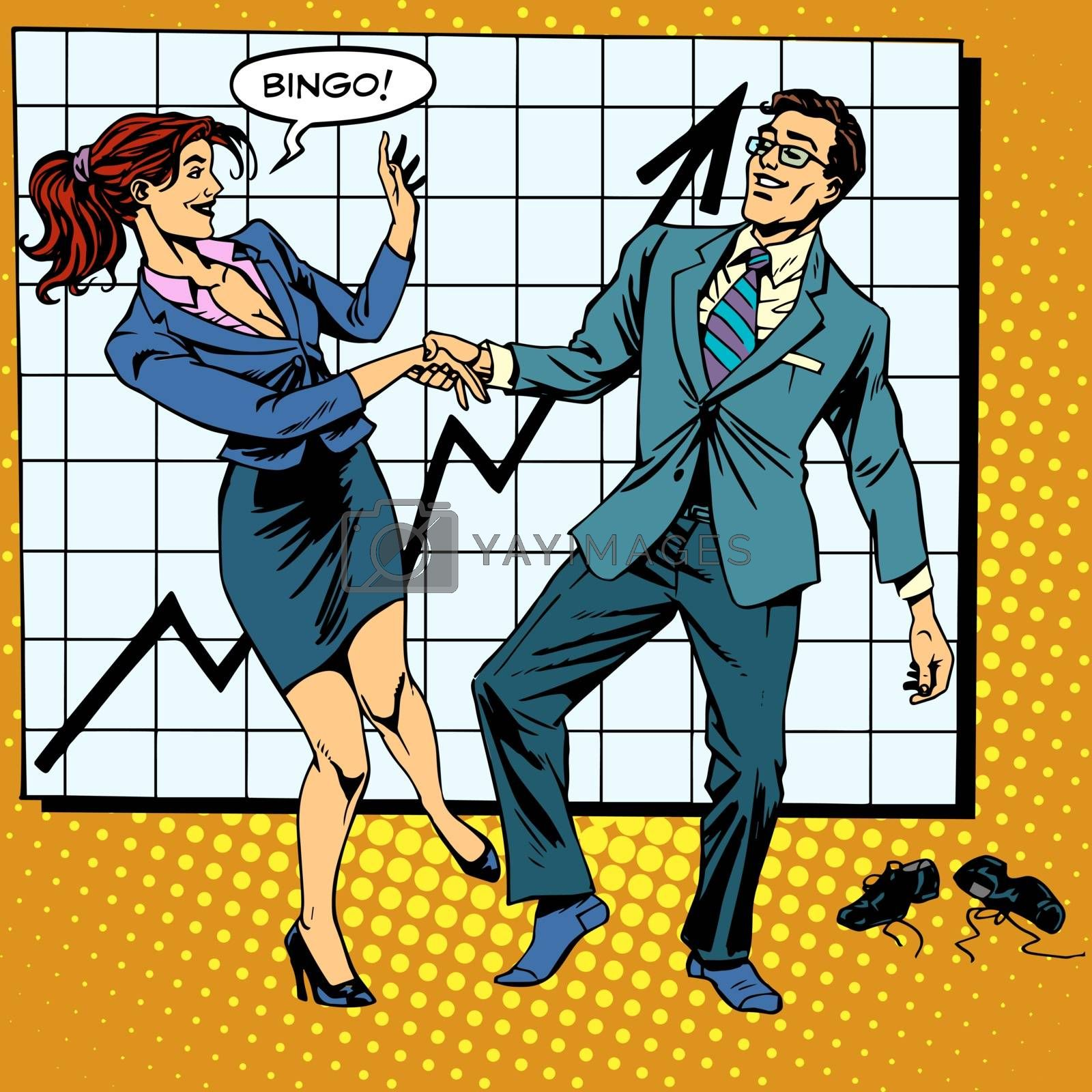 Bingo financial success dance business pop art retro style. Man and woman happily dancing. Graph of growth and profit.