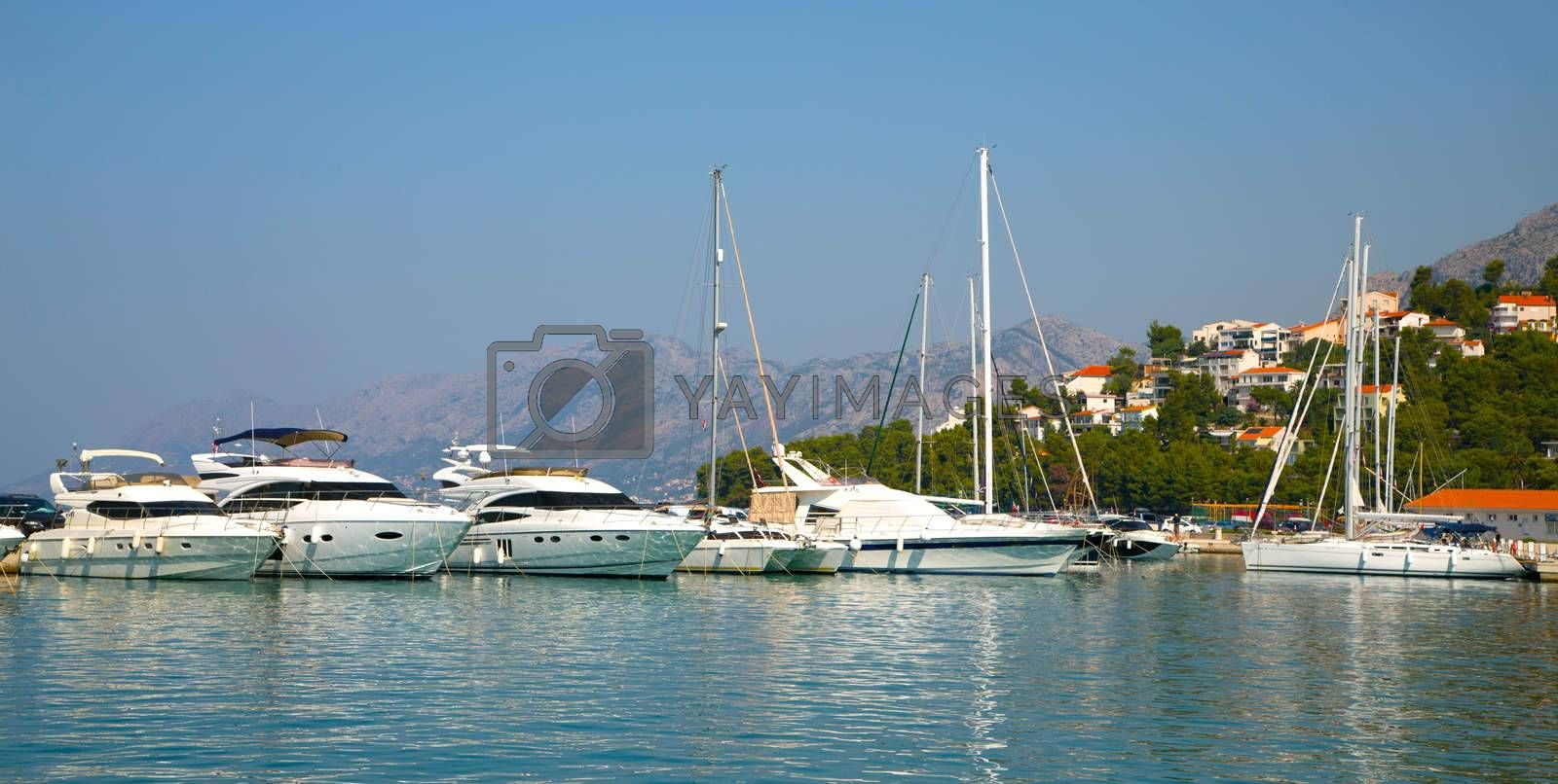Royalty free image of Mooring boats in the spa town by Sid10