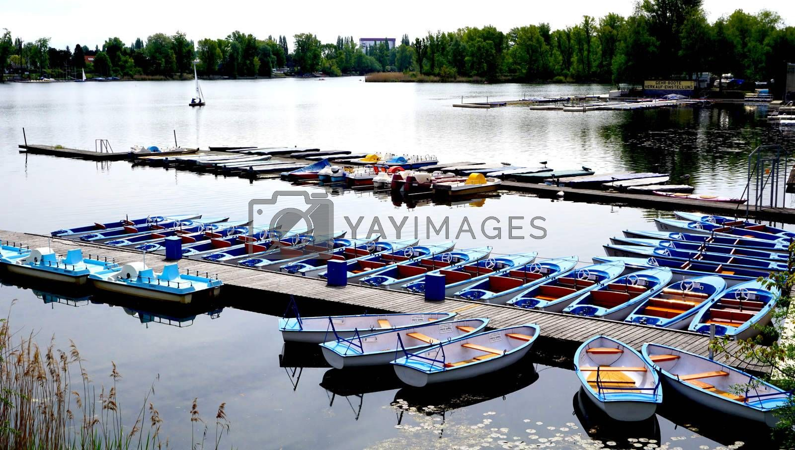 Boats Pier in Danube  River Vienna, Austria, Europe