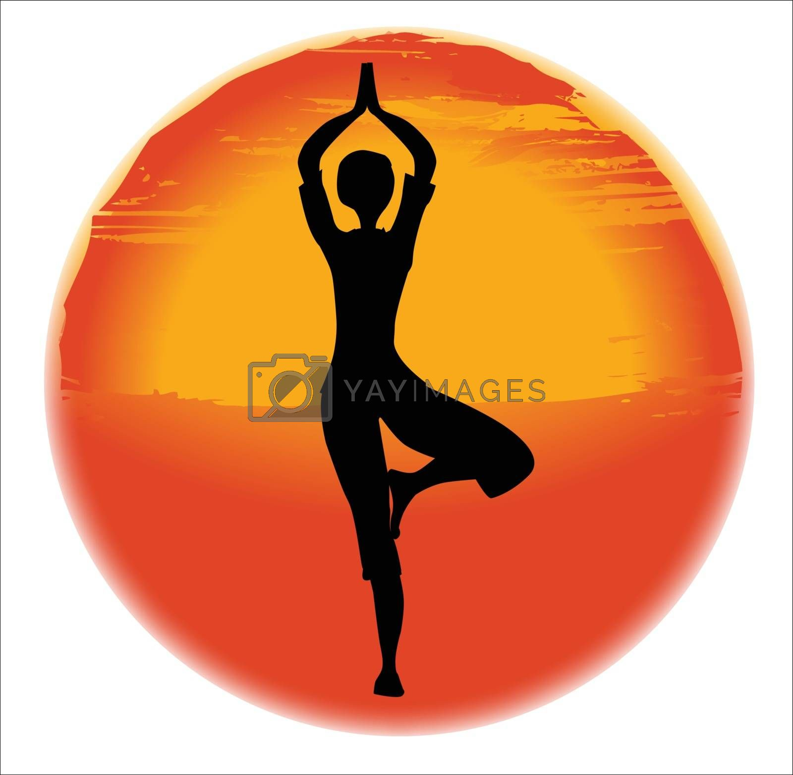 large hazy sun set over a white background with a woman practicing the vrksasana pose