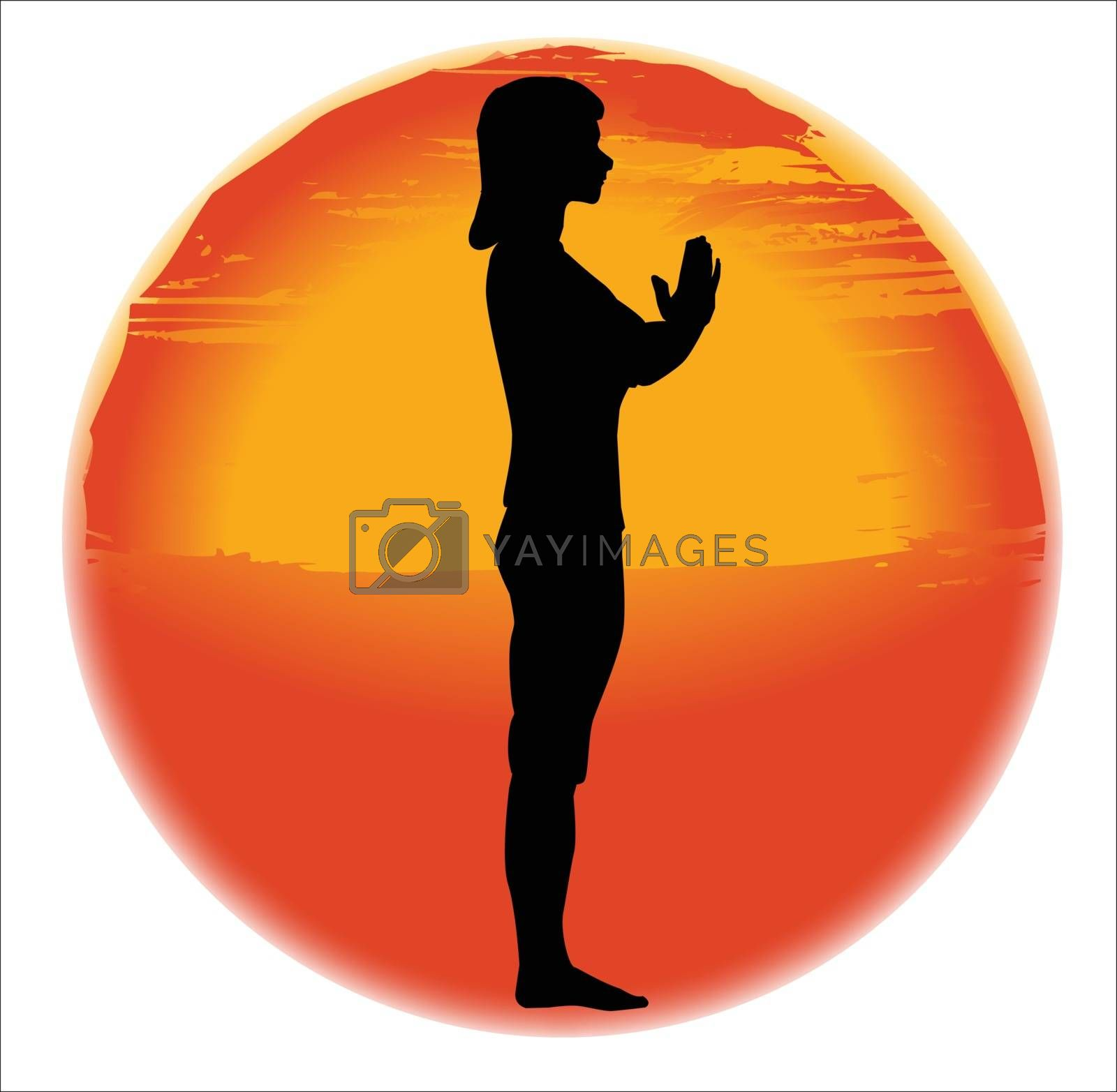 large hazy sun set over a white background with a woman practicing the salutation pose