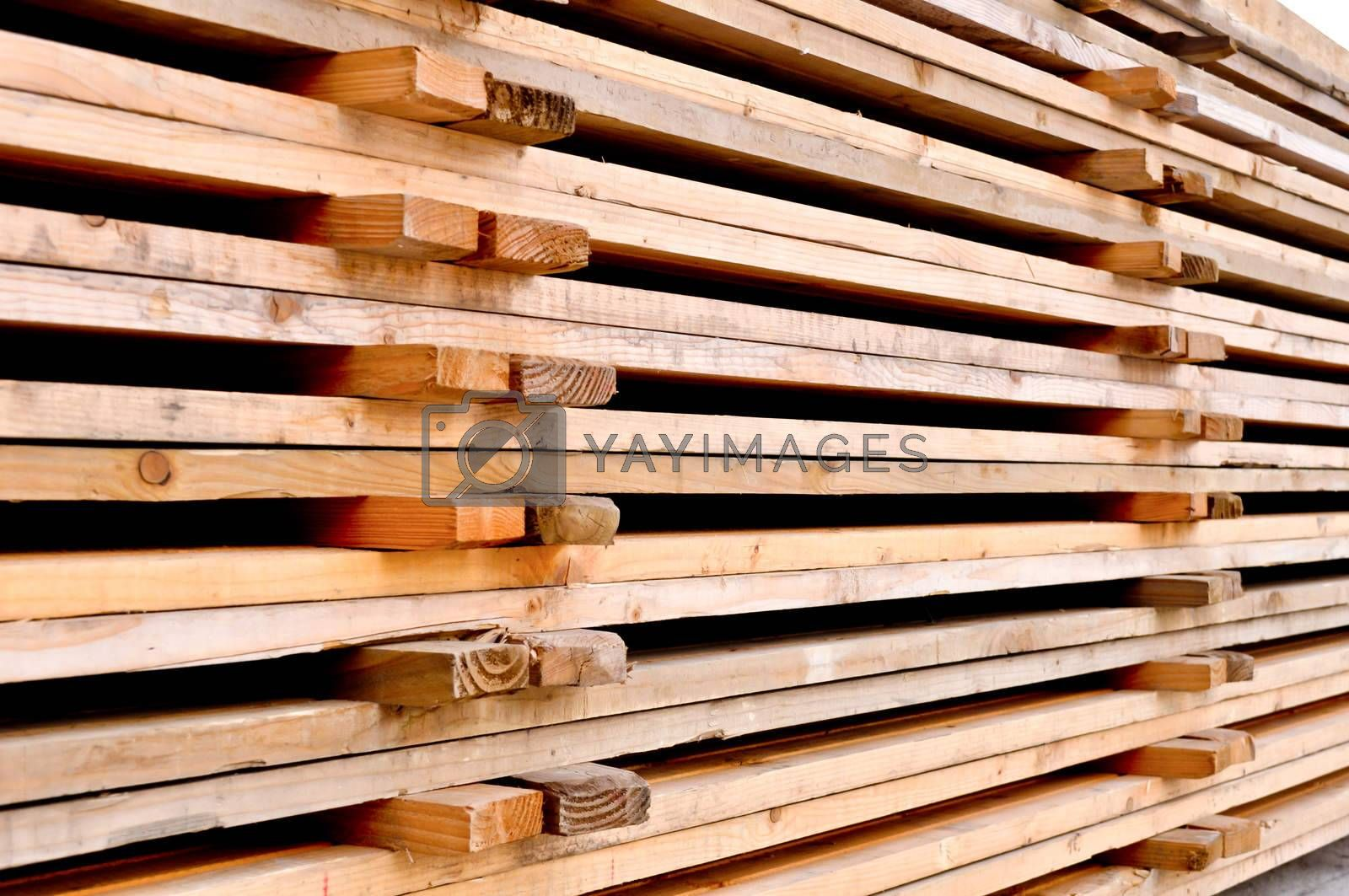 Royalty free image of a stack of the wooden pallets by vlaru