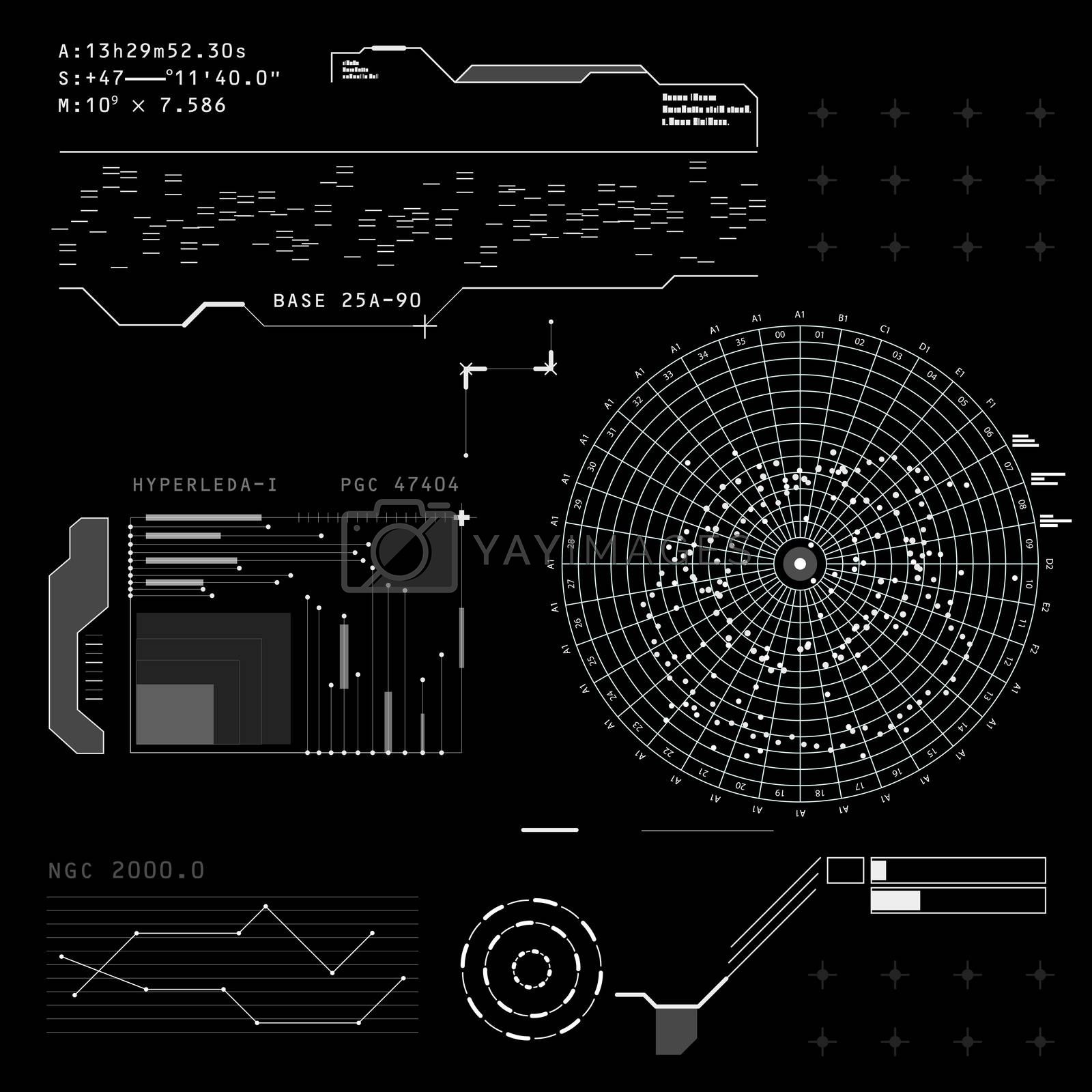 Abstract future, concept futuristic black and white virtual graphic touch user interface HUD. Raster version