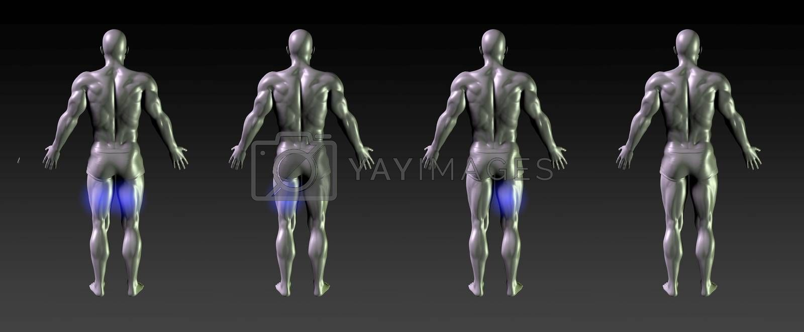 Hamstring Recovery or Rehabilitation with Blue Glow