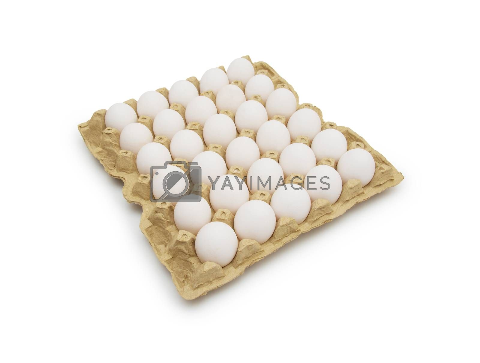 Royalty free image of Eggs in carton on white with clipping path by cocoo