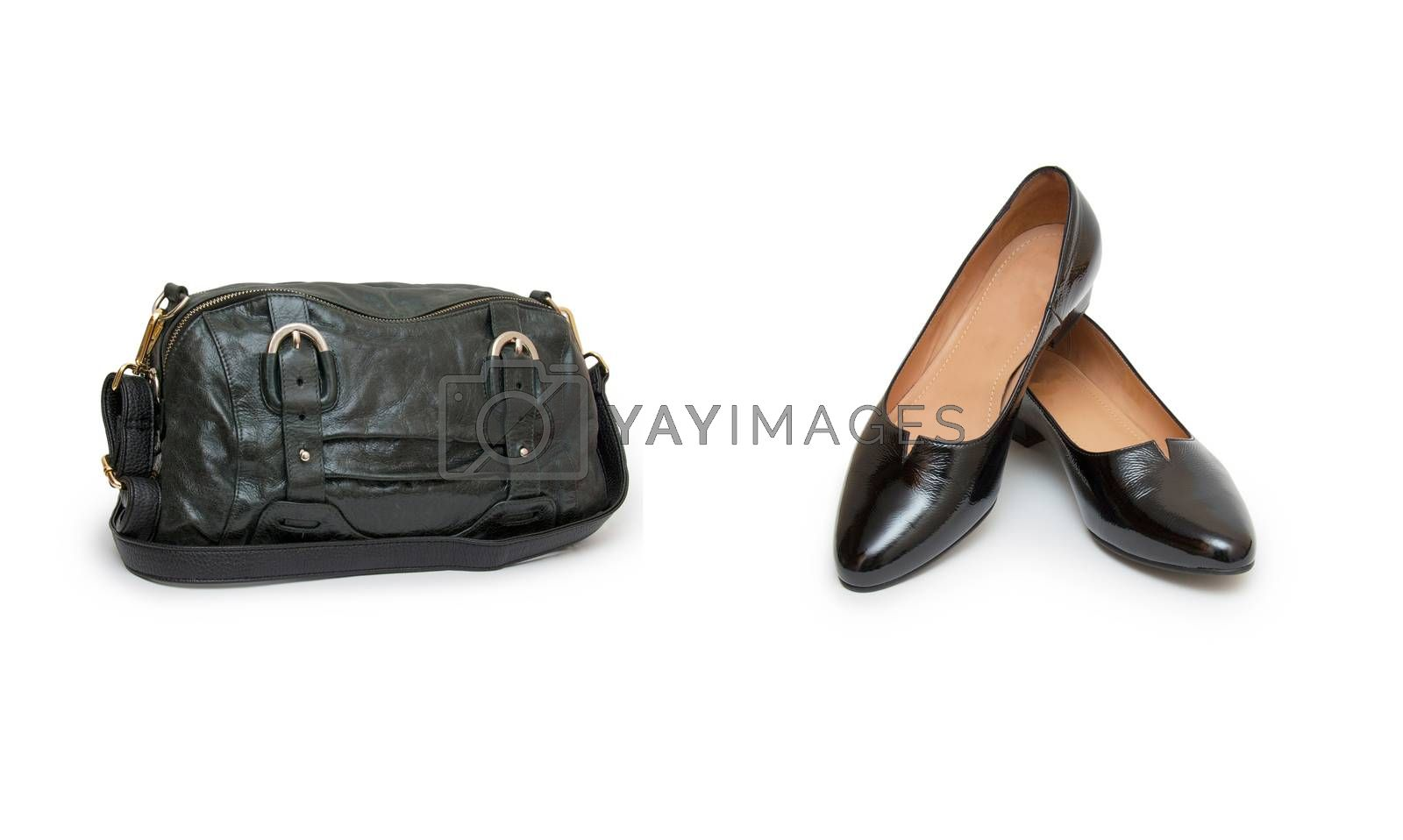 Royalty free image of Collage of shoes and bags on white by cocoo