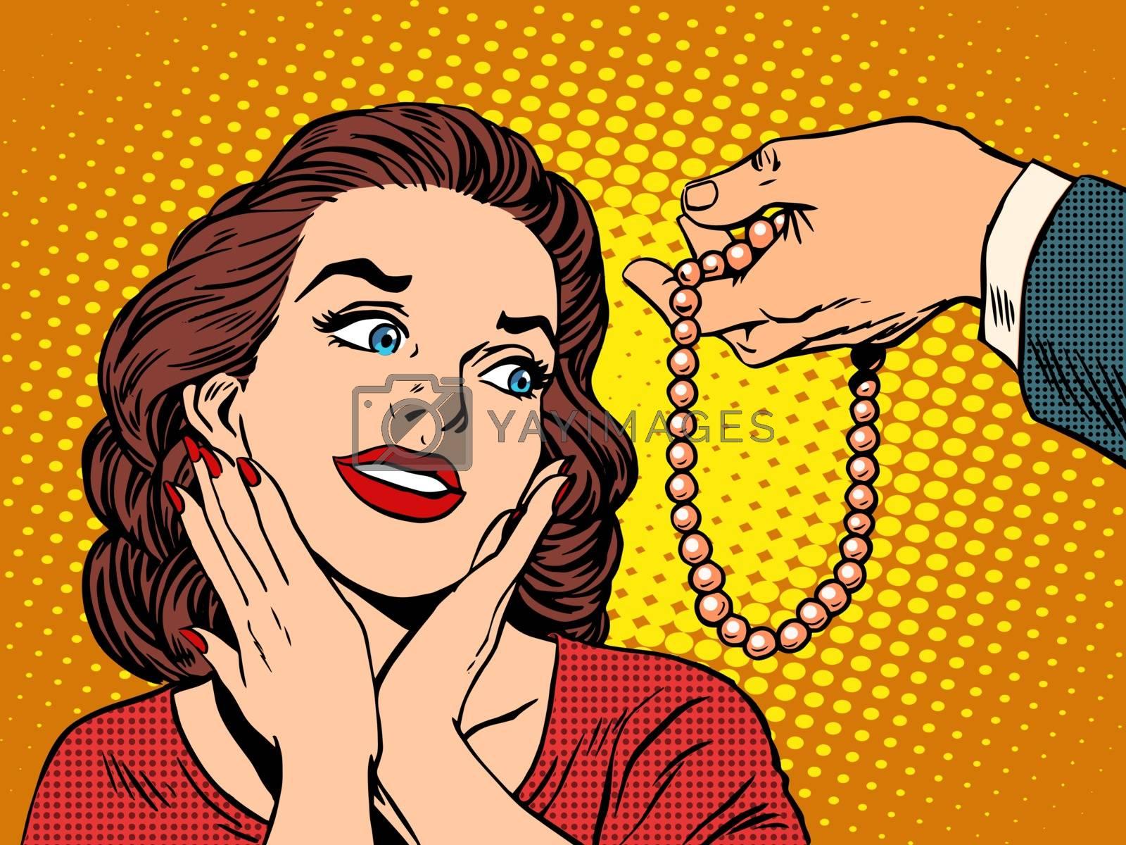 Gift woman jewelry beads pop art retro style. Birthday celebration joy