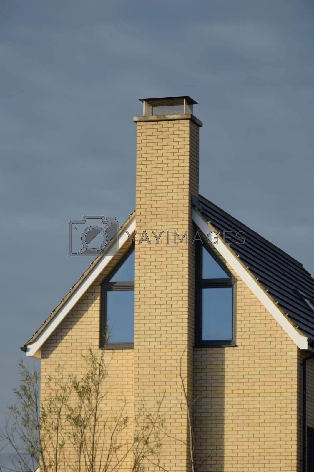 Modern English End of House with Chimney