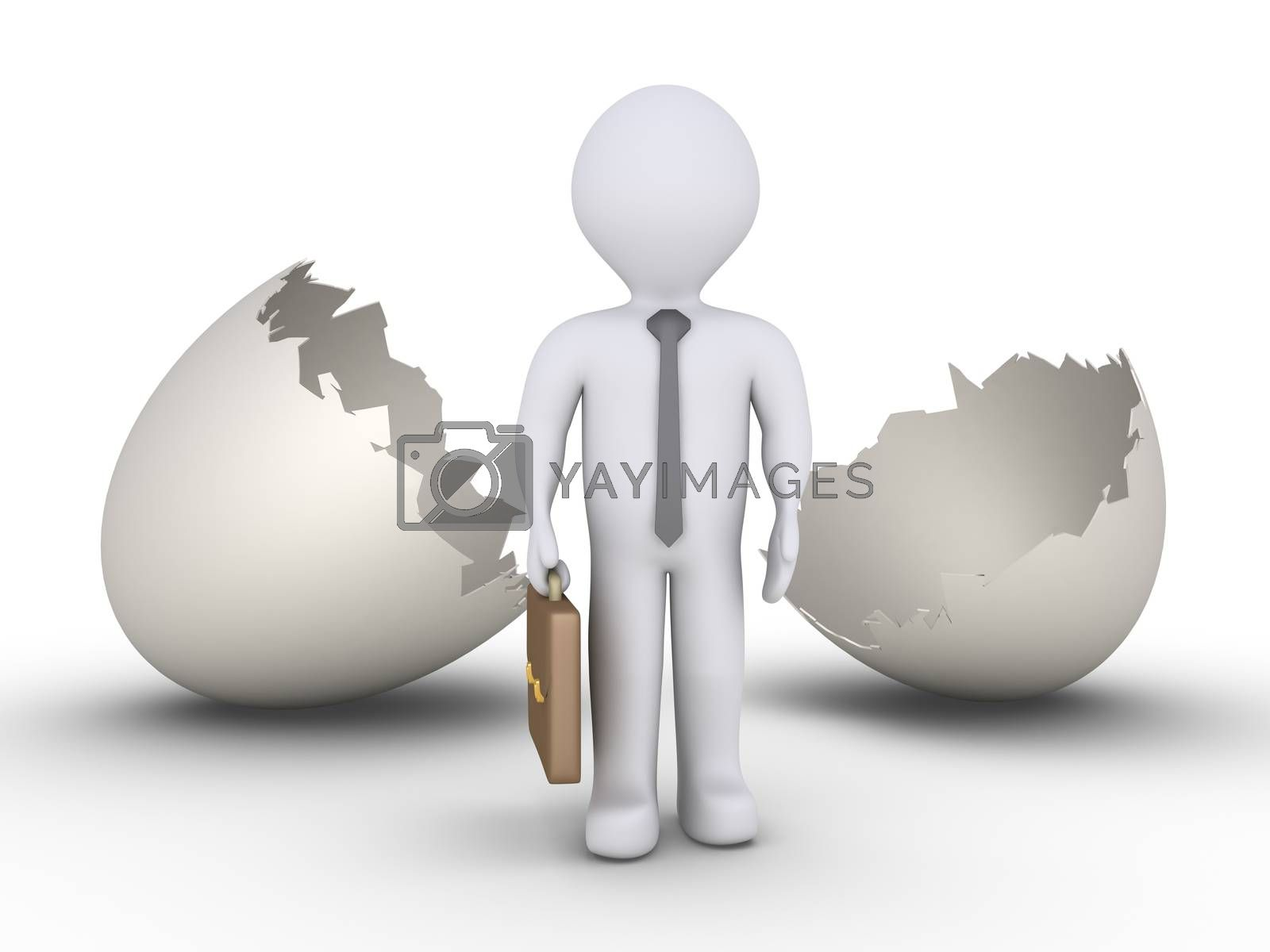Businessman is standing in front of an empty cracked egg