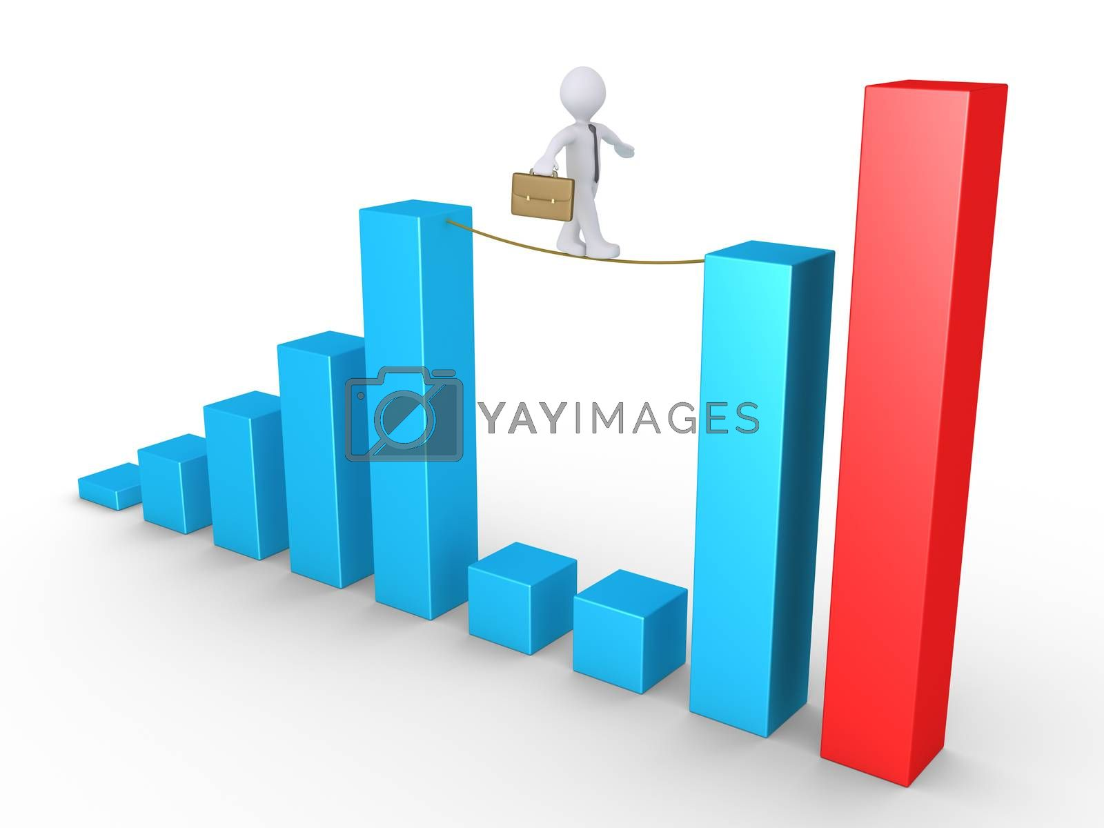 Businessman is walking on a rope connected on two columns of a graphic chart