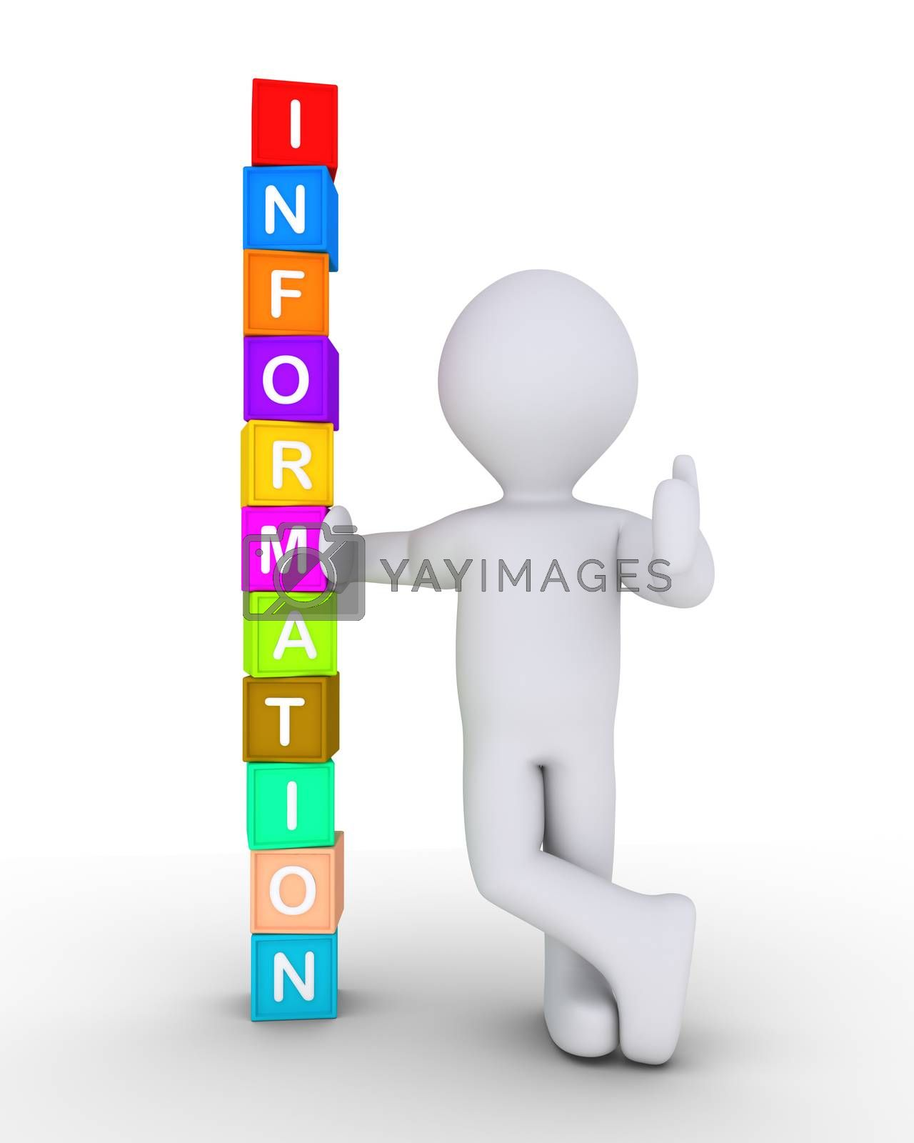 Person is leaning on stacked cubes forming the word Information