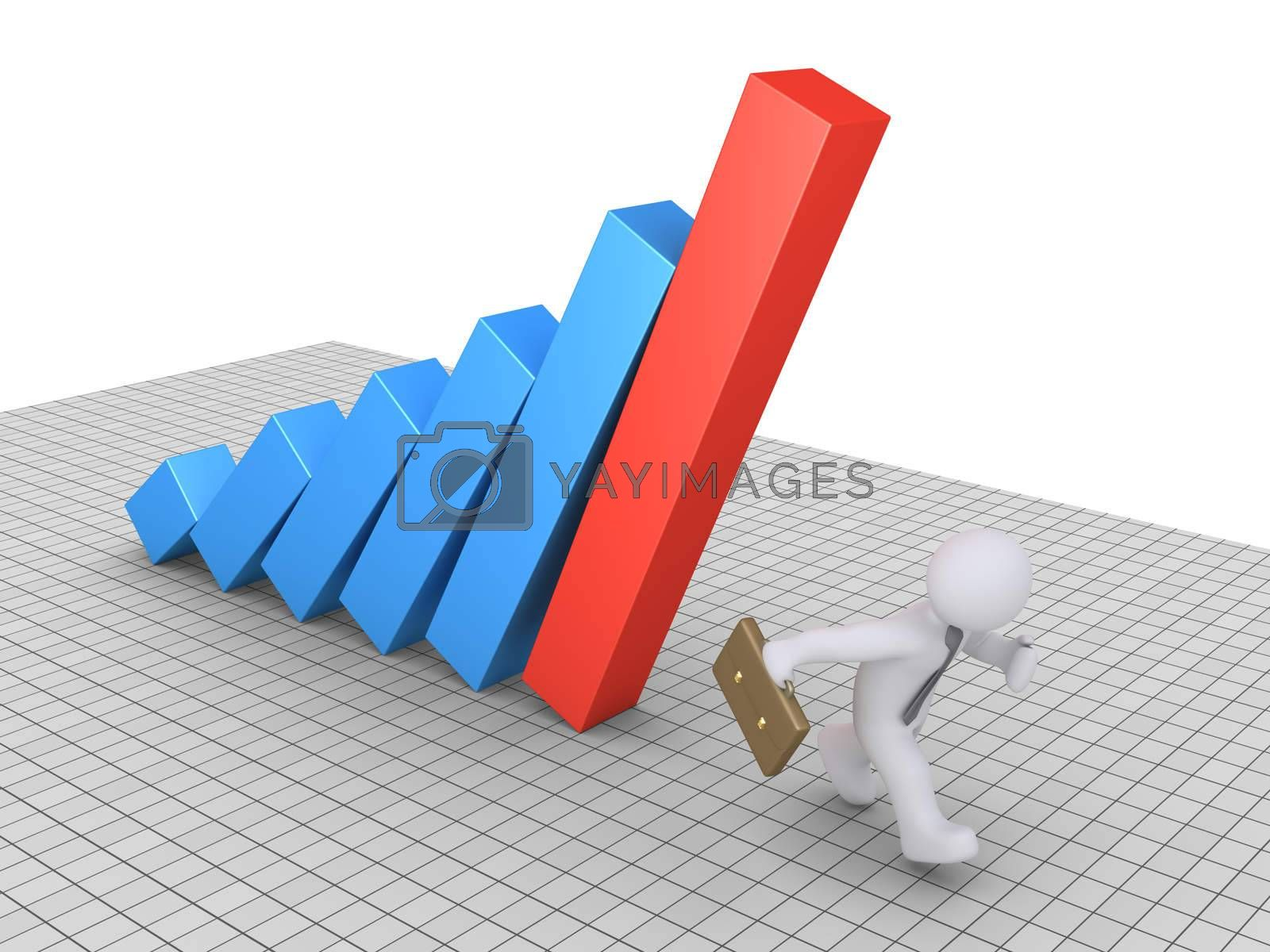 Businessman is running to avoid the falling columns of a graphic chart