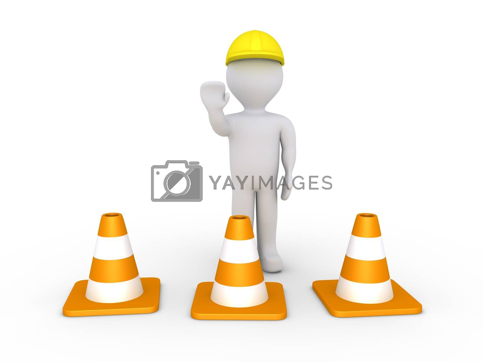 Person as worker is behind traffic cones