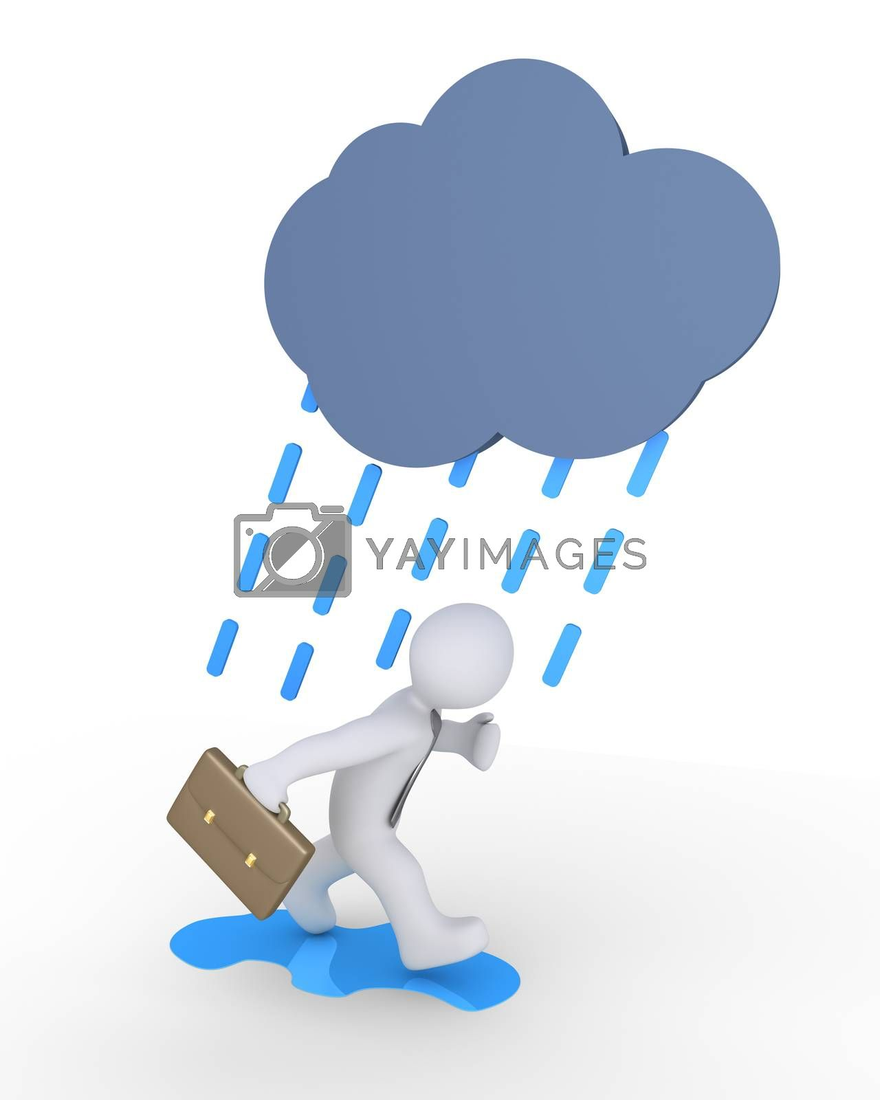 Businessman is running to avoid cloud and rain