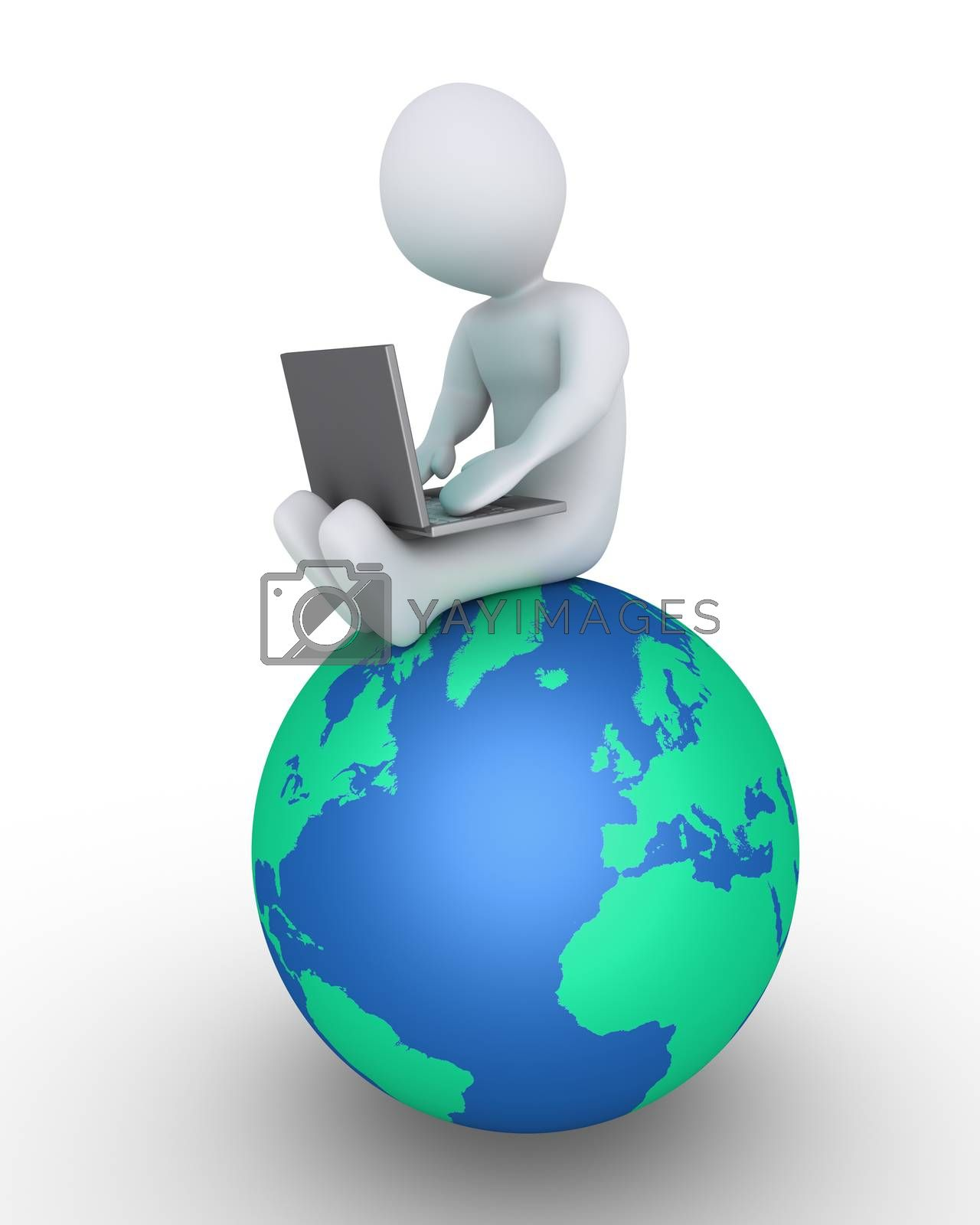 Person is using a laptop and is sitting on the globe