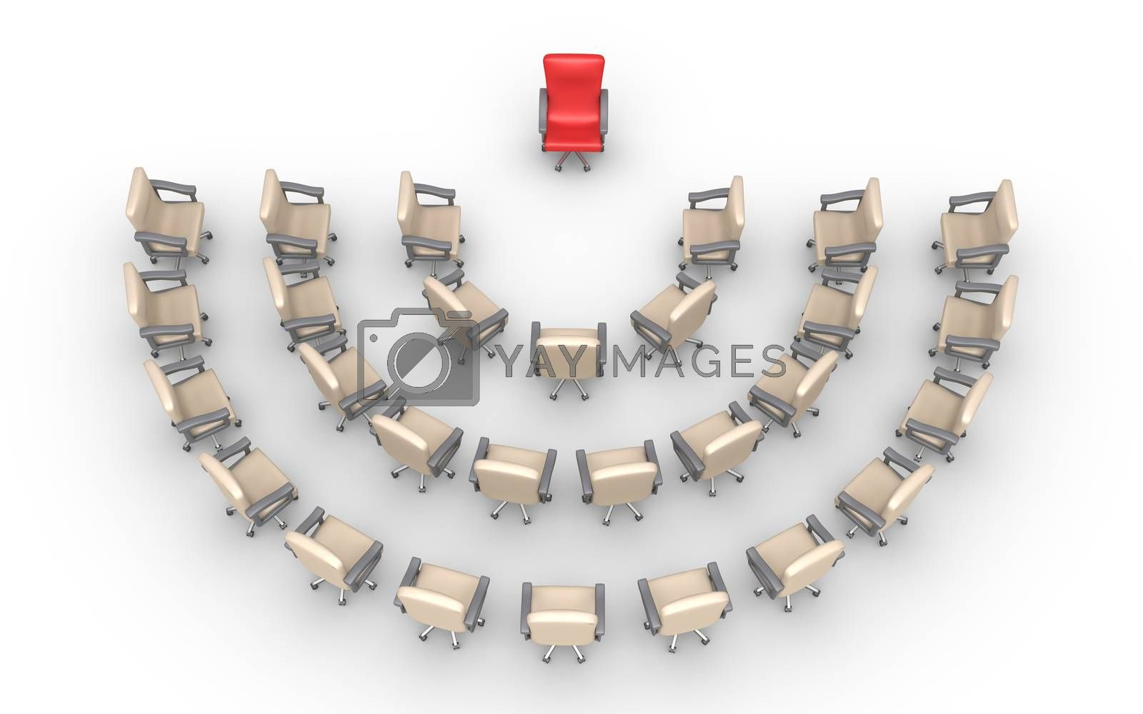 Empty chairs are around one that is of different color