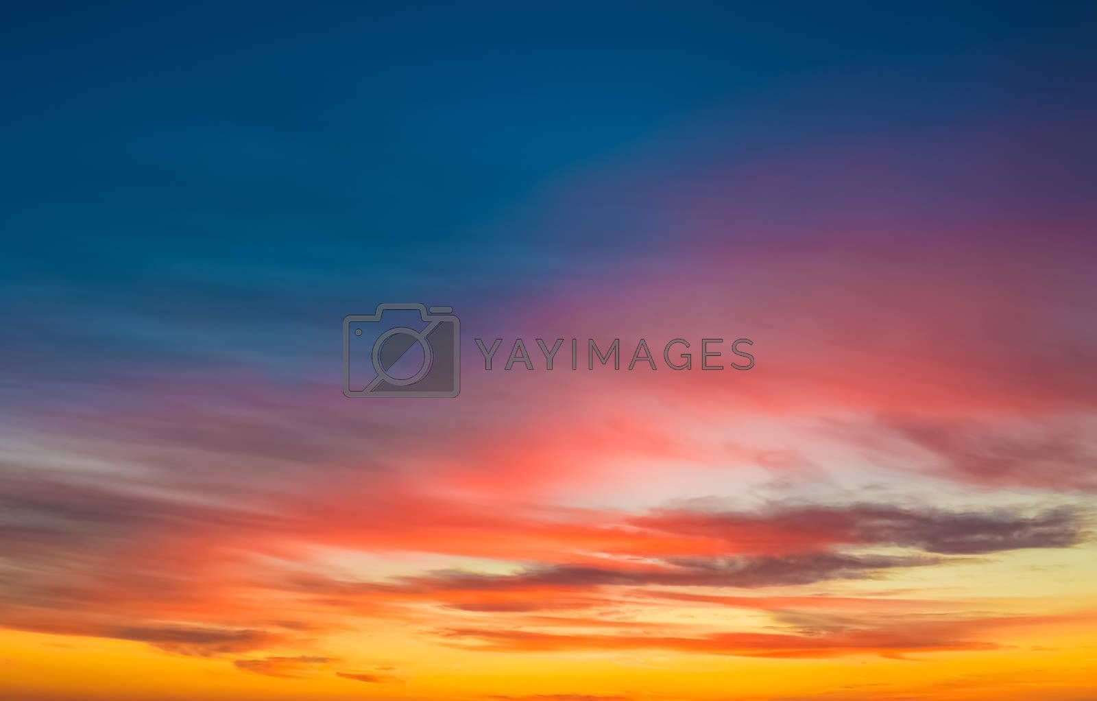sunset scene wallpaper background, colorful sky with soft clouds,