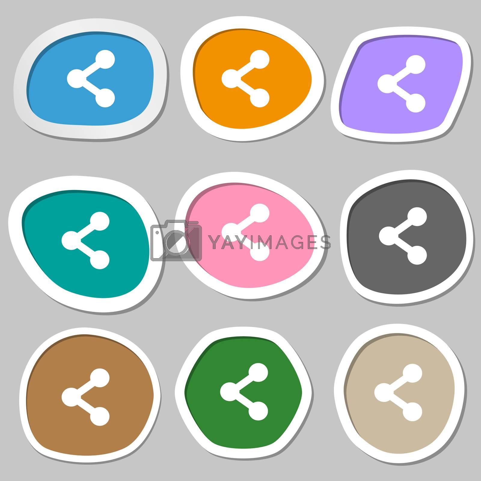 Share icon symbols. Multicolored paper stickers. illustration