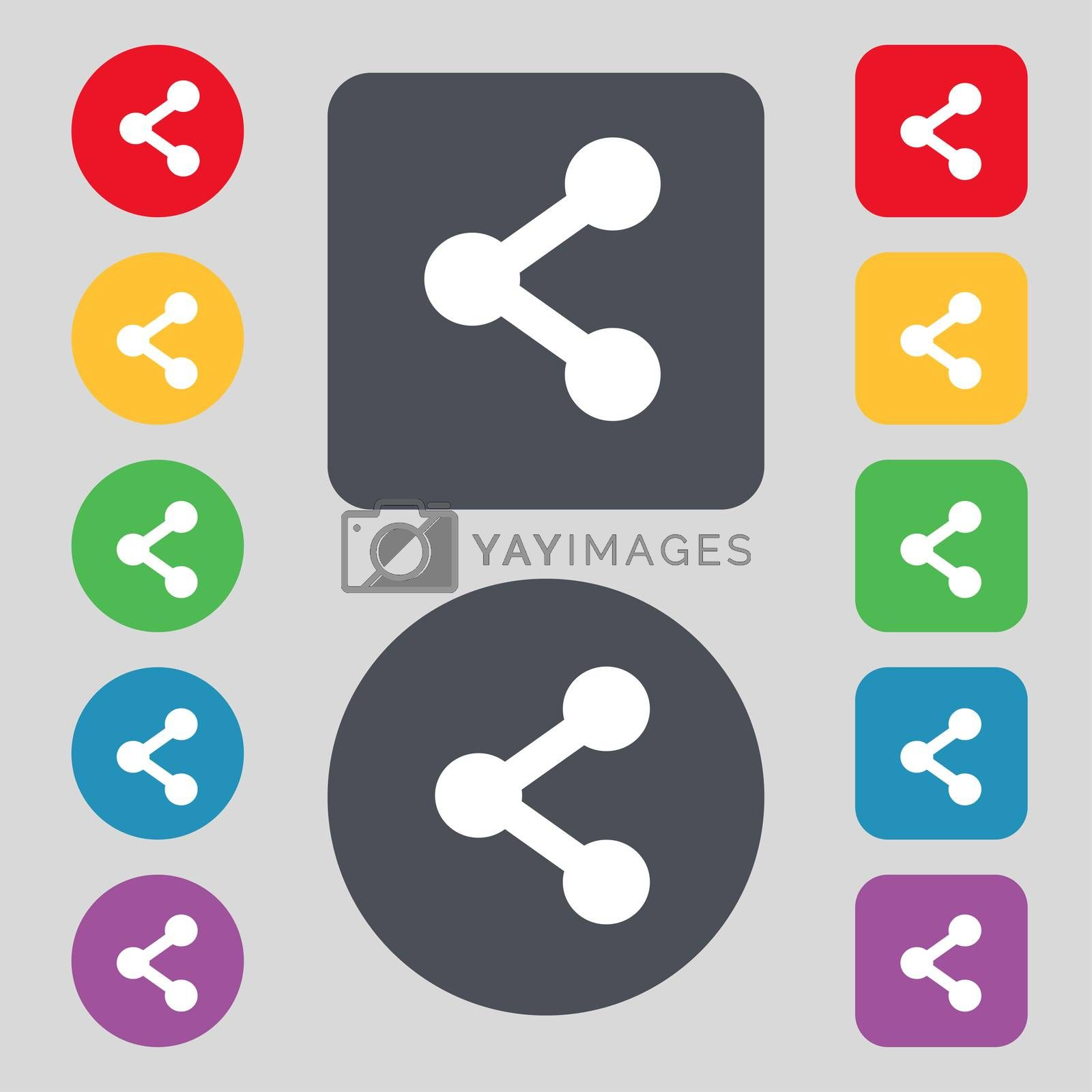Share icon sign. A set of 12 colored buttons. Flat design. illustration