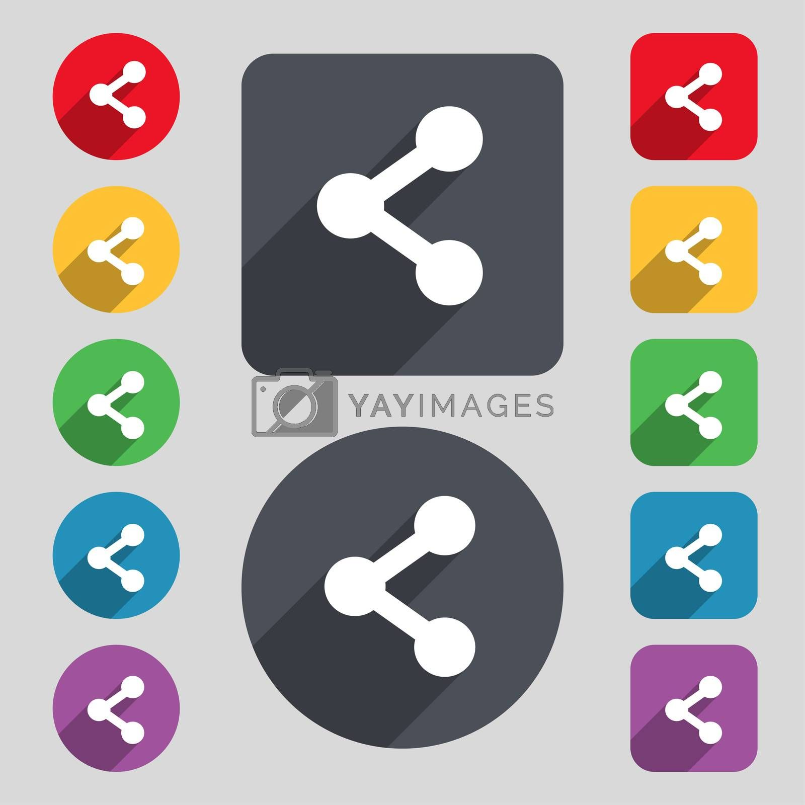 Share icon sign. A set of 12 colored buttons and a long shadow. Flat design. illustration