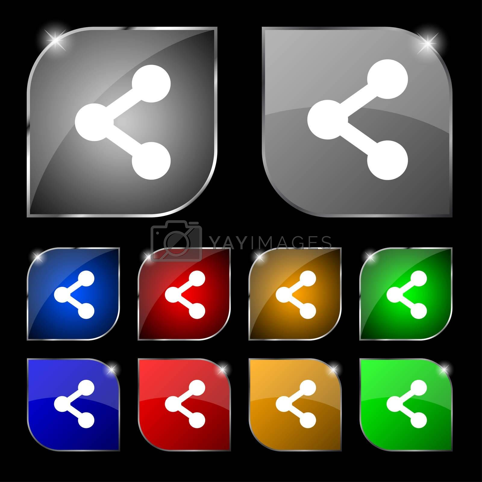 Share icon sign. Set of ten colorful buttons with glare. illustration