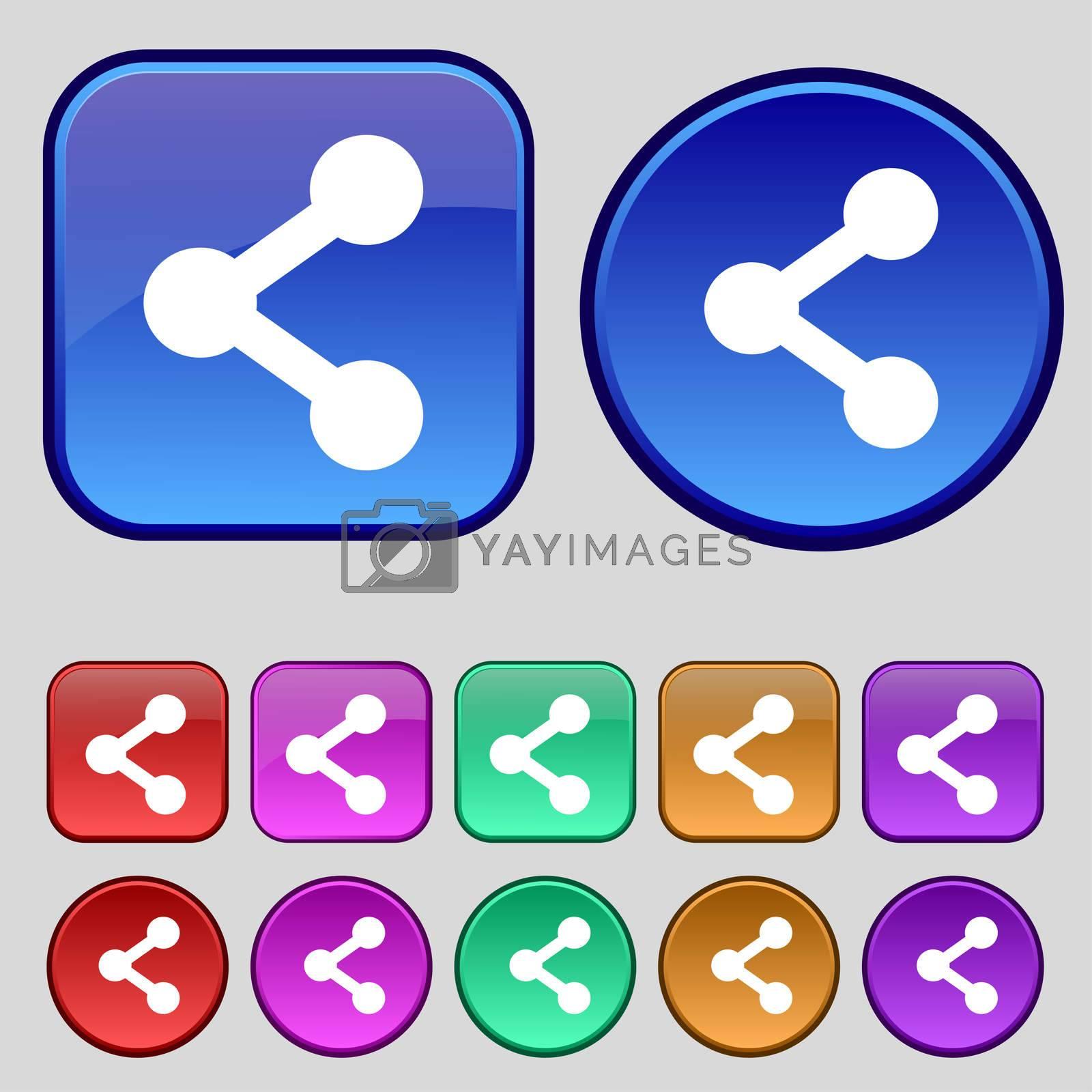 Share icon sign. A set of twelve vintage buttons for your design. illustration