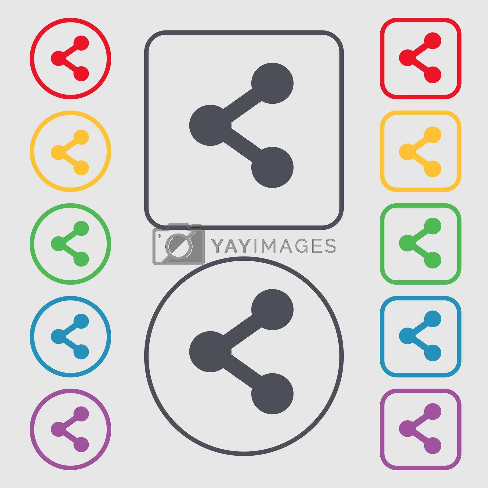 Share icon sign. symbol on the Round and square buttons with frame. illustration