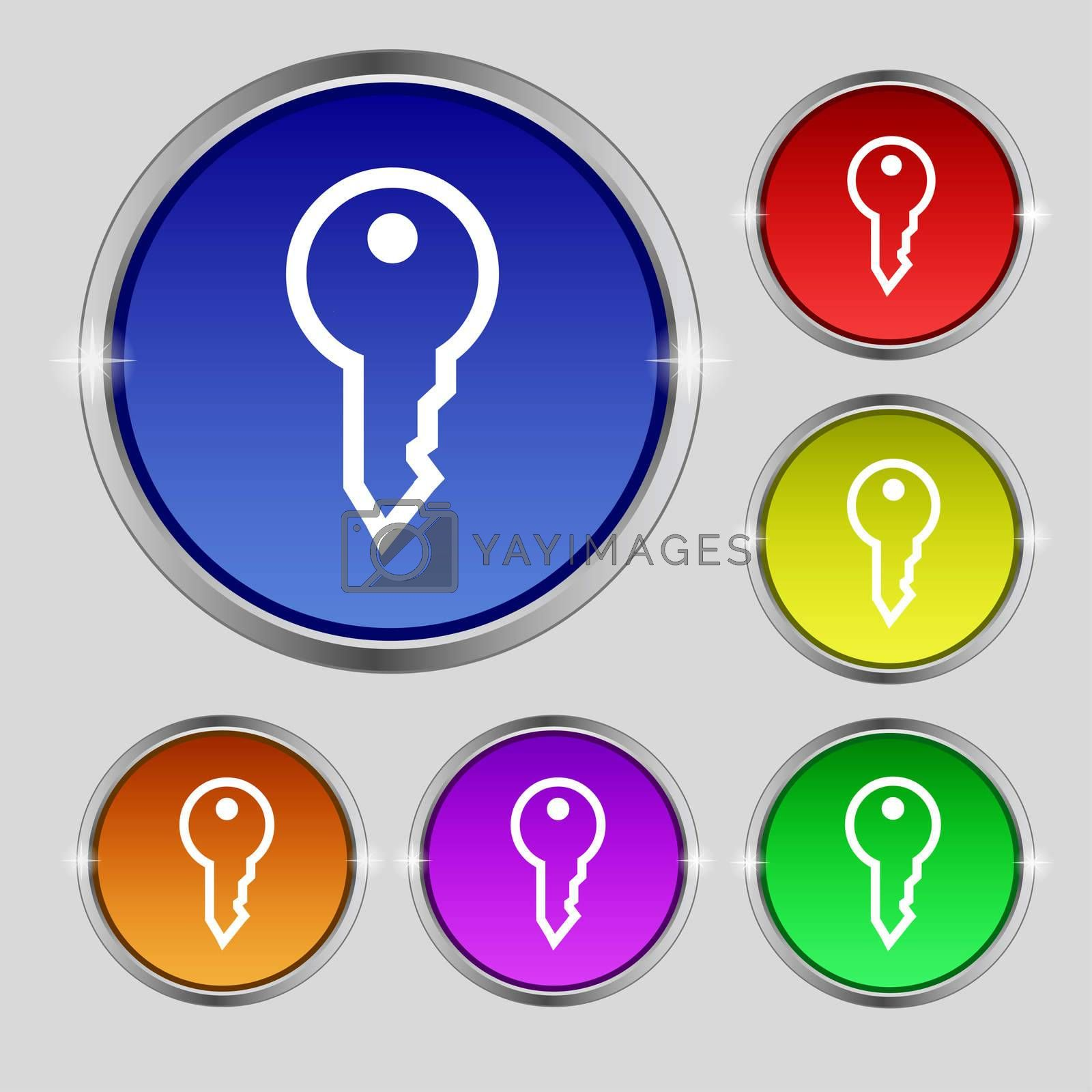 Key icon sign. Round symbol on bright colourful buttons.  by Serhii Lohvyniuk
