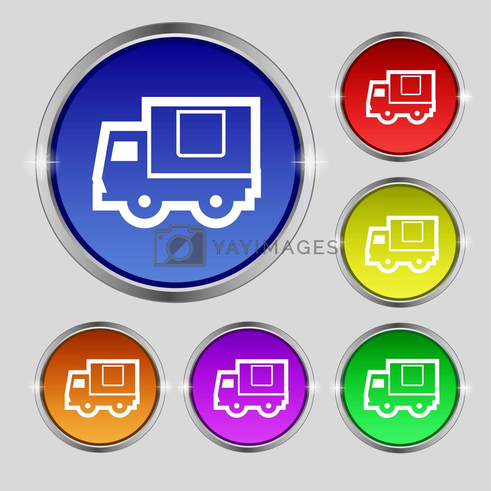 Delivery truck icon sign. Round symbol on bright colourful buttons.  by Serhii Lohvyniuk