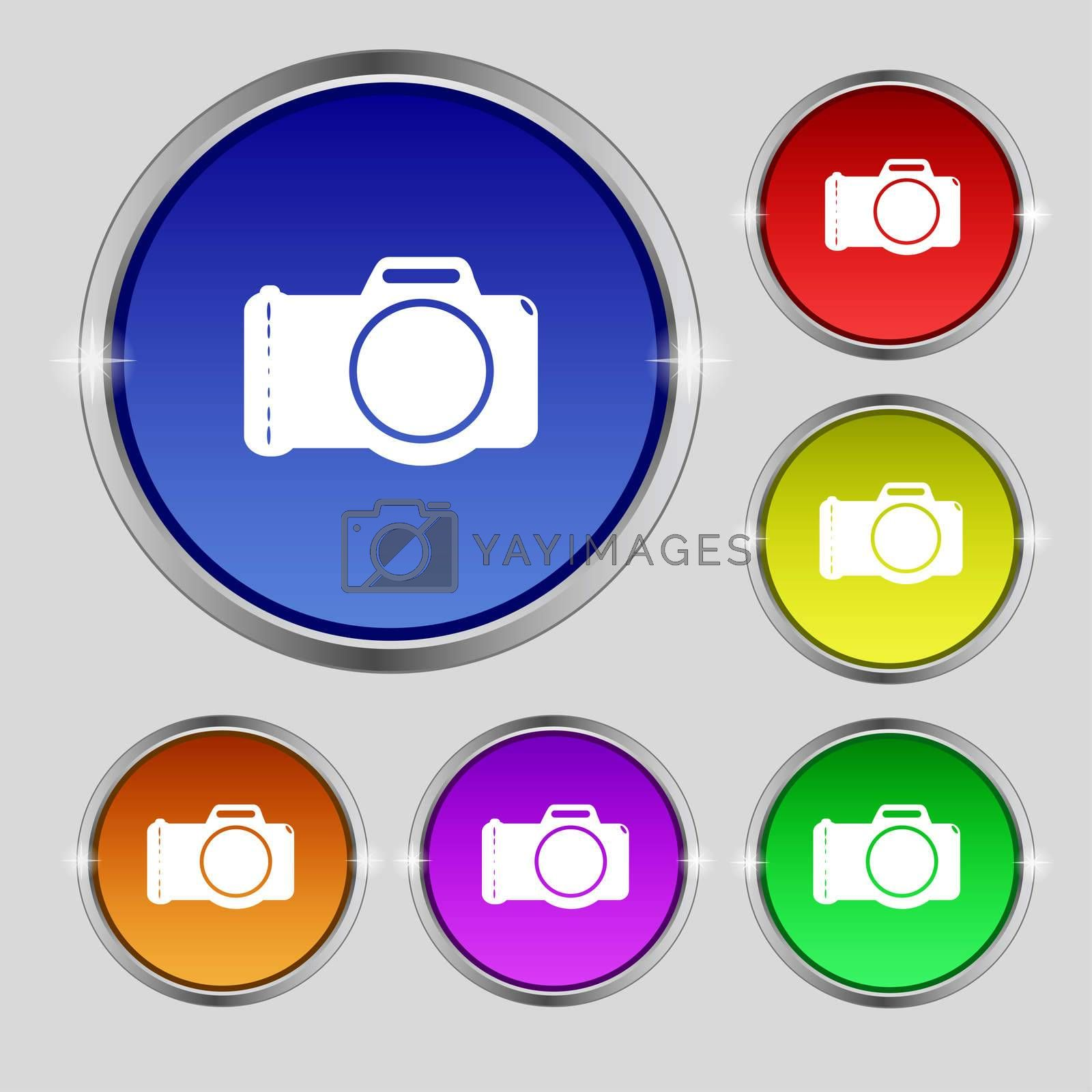 Photo camera sign icon. Digital symbol. Set colourful buttons.  by Serhii Lohvyniuk